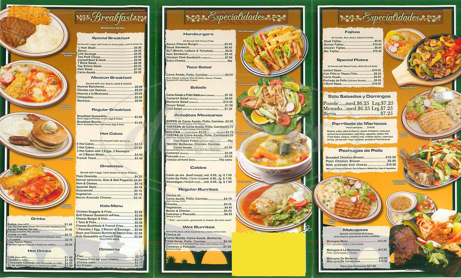 menu for Tacos Y Mariscos La Puente