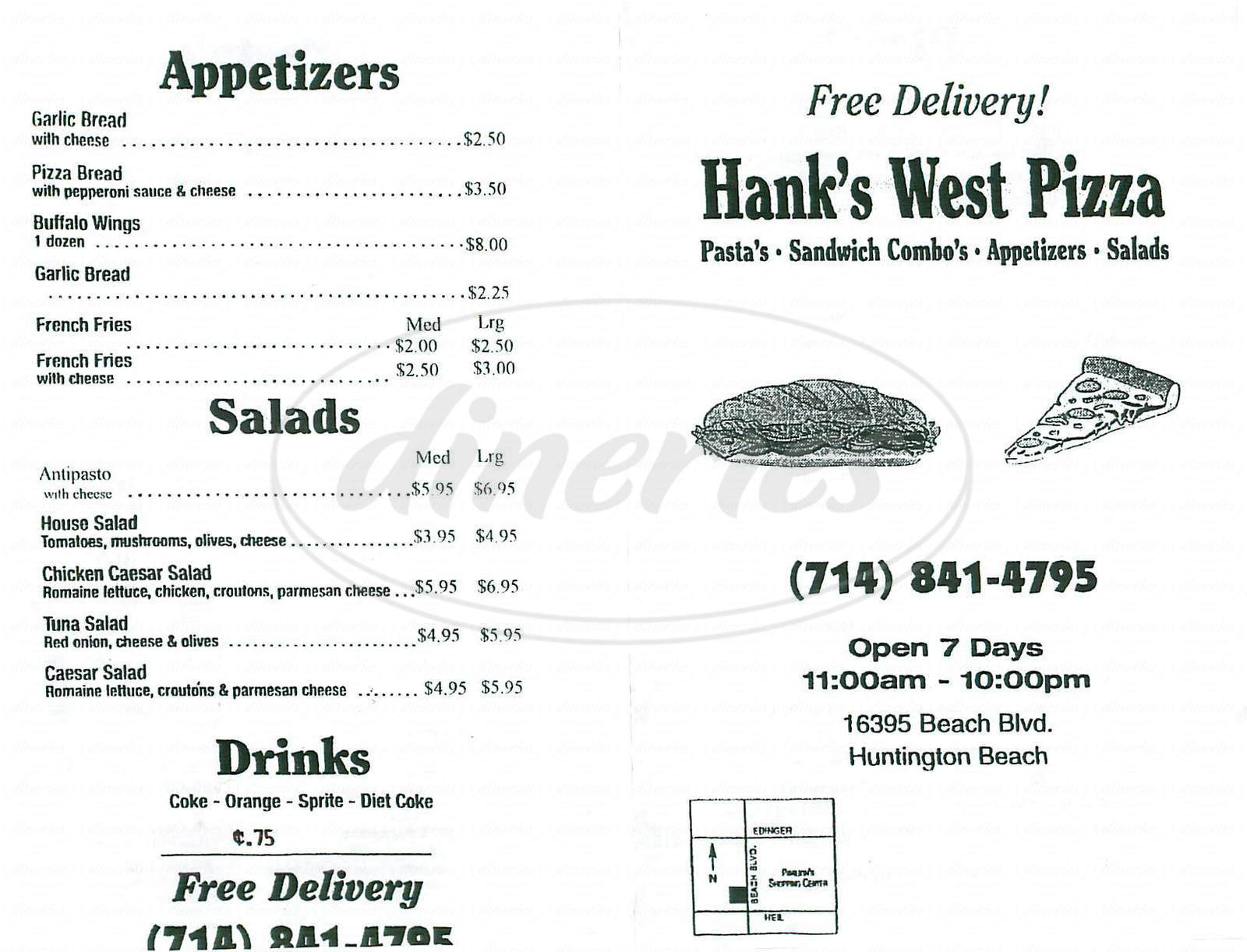 menu for Hanks West Pizza