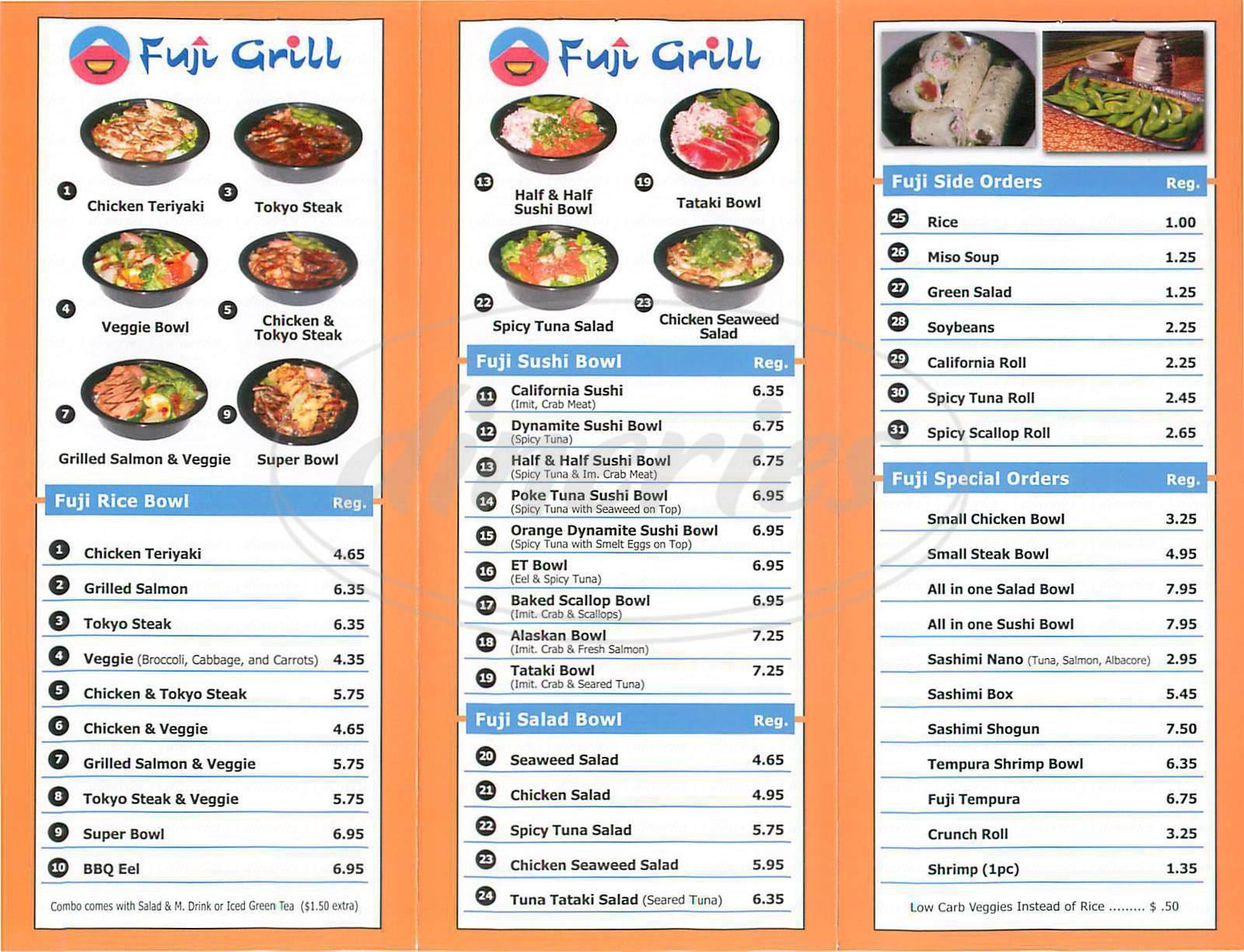 menu for Fuji Grill