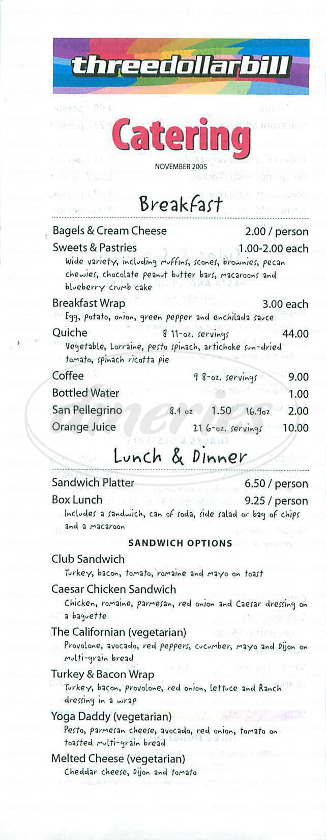 menu for Three Dollar Bill Café