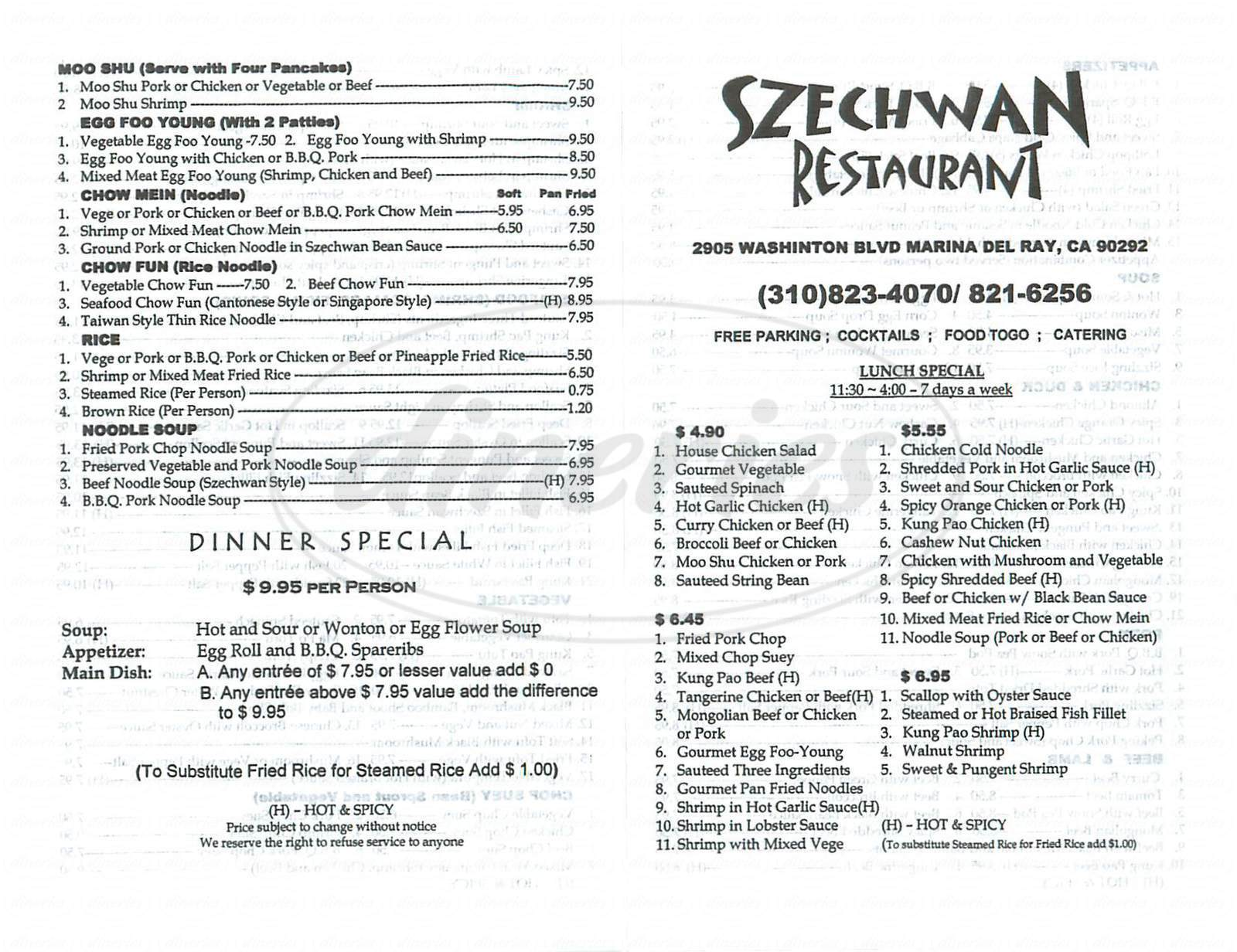 menu for Szechwan Restaurant