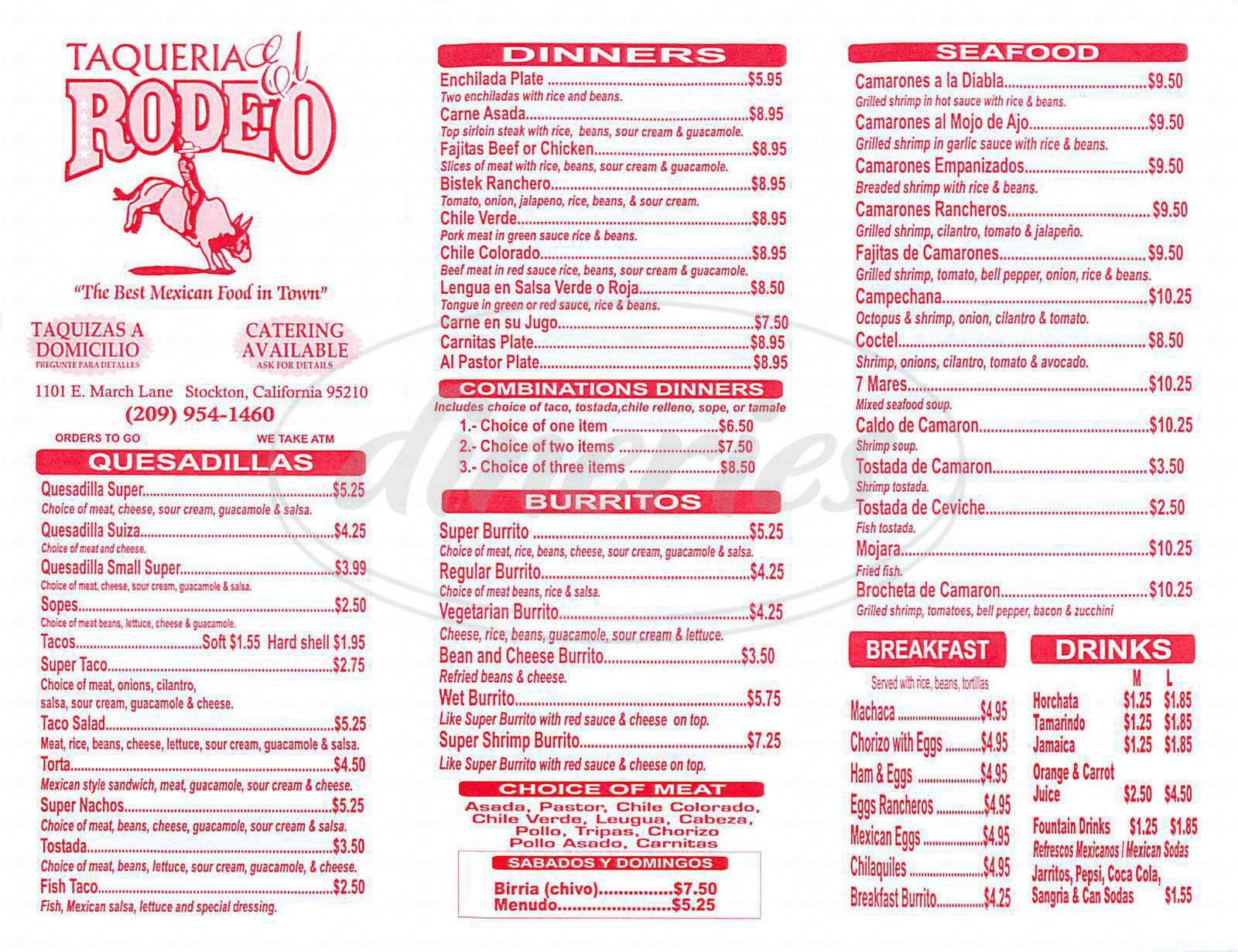menu for El Rodeo Taqueria