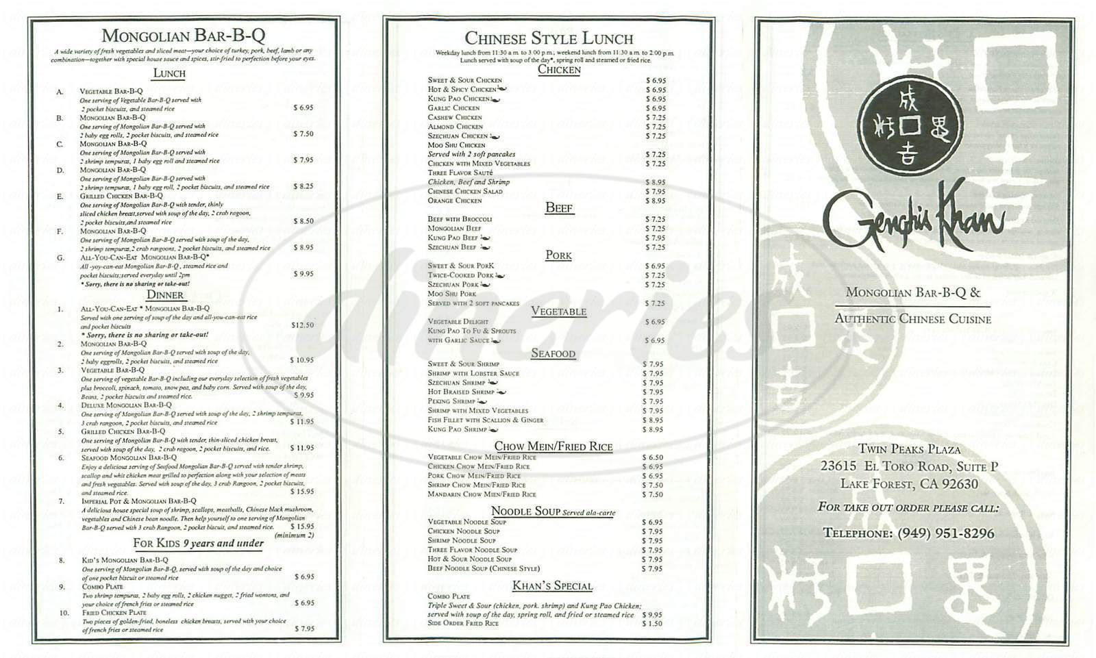 menu for Genghis Khan Mongolian BBQ