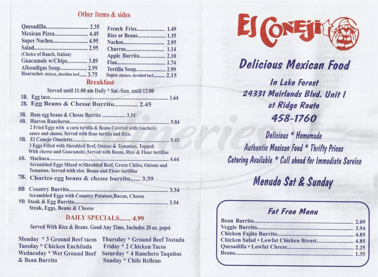 menu for El Conejito