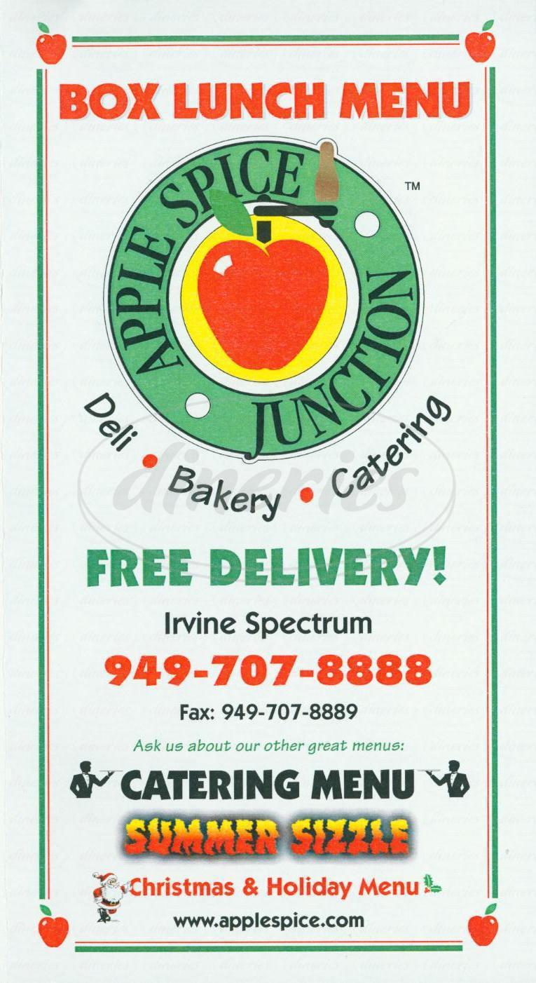 menu for Apple Spice Junction