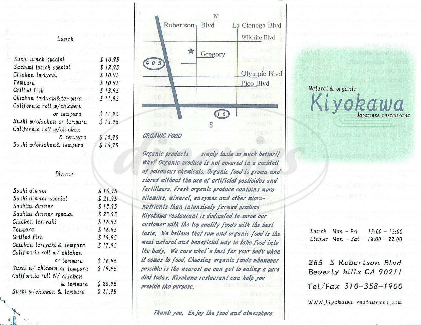 menu for Kiyokawa