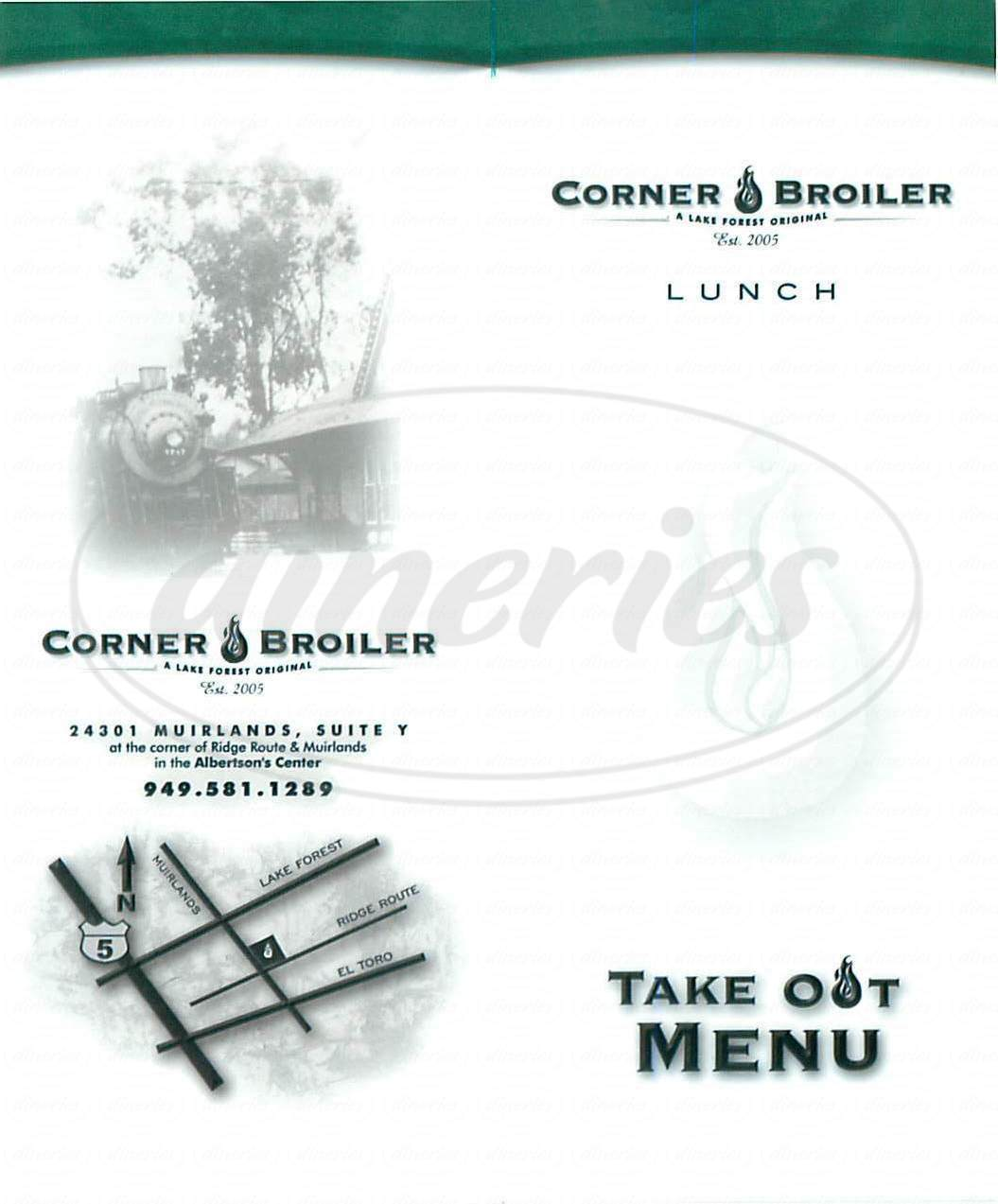 menu for Corner Broiler