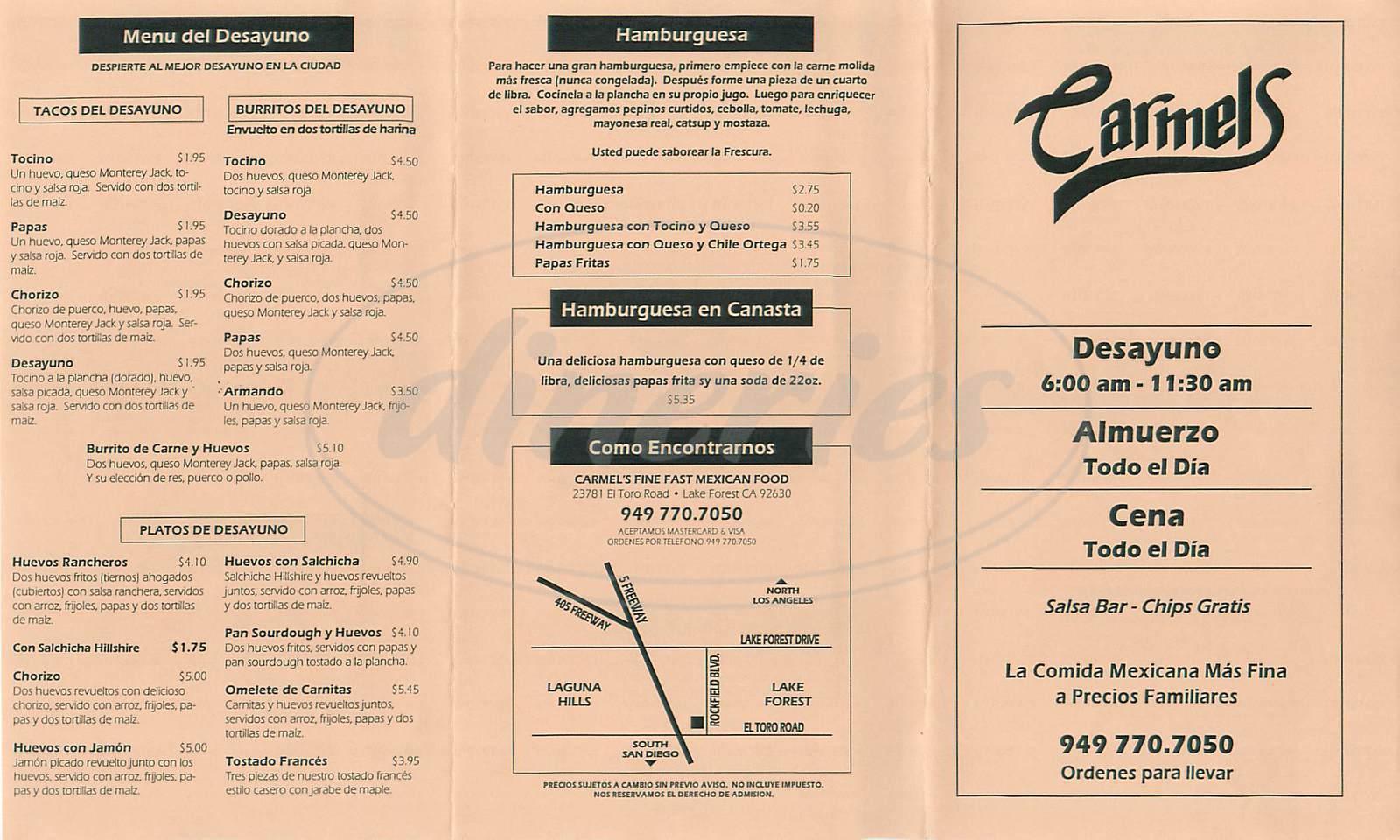 menu for Carmels