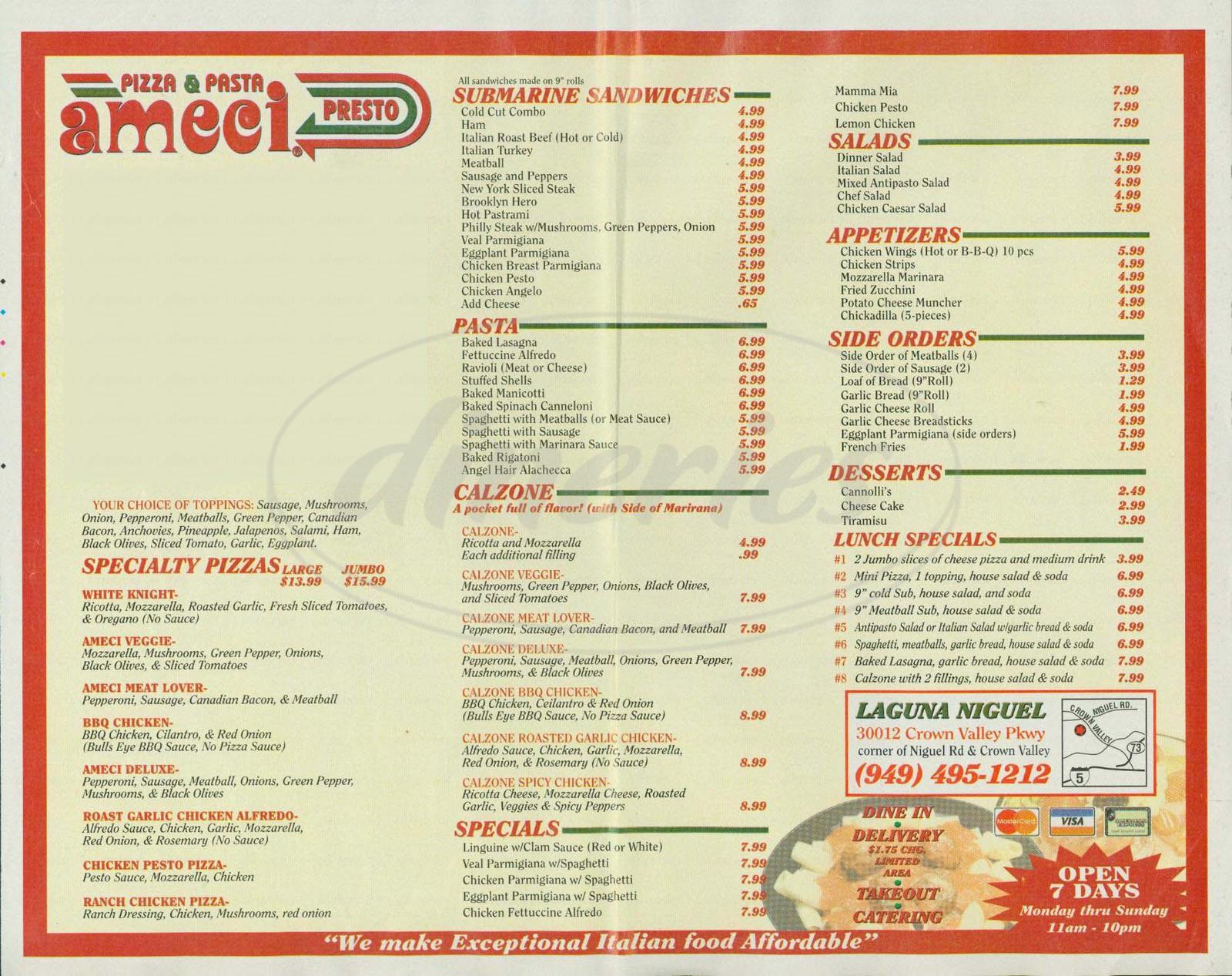 menu for Ameci Pizza & Pasta