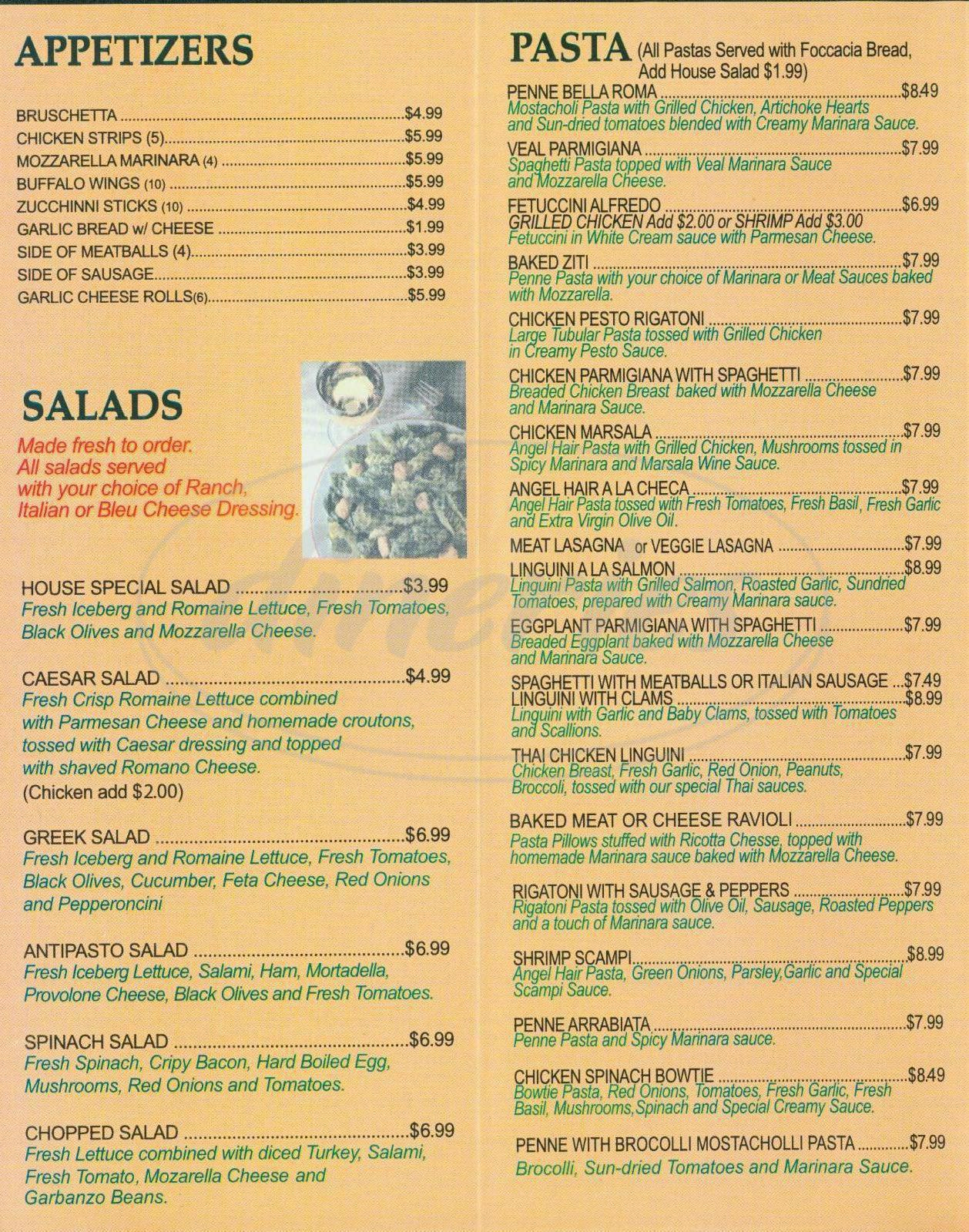 menu for Bella Italian Kitchen