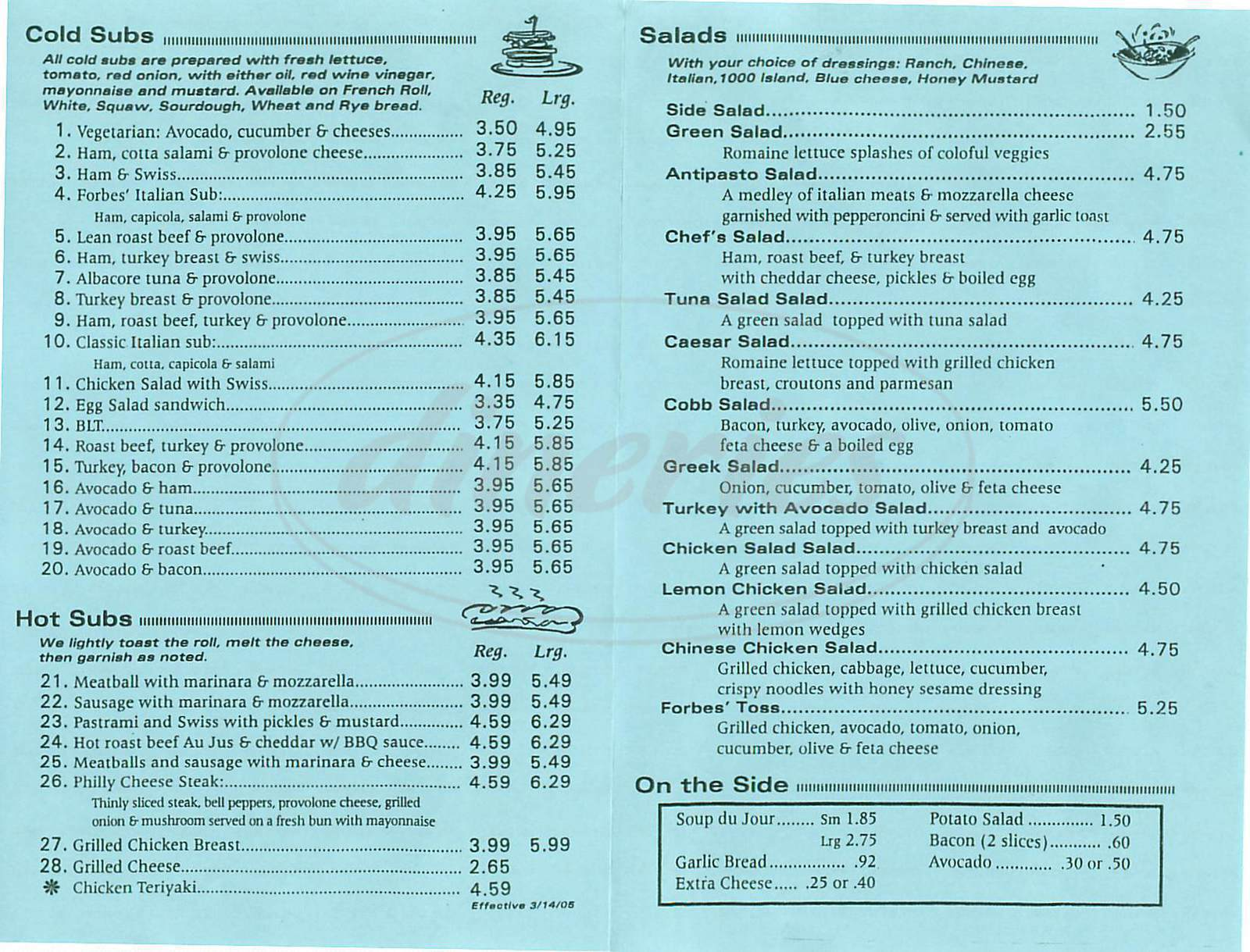 menu for Forbes Deli