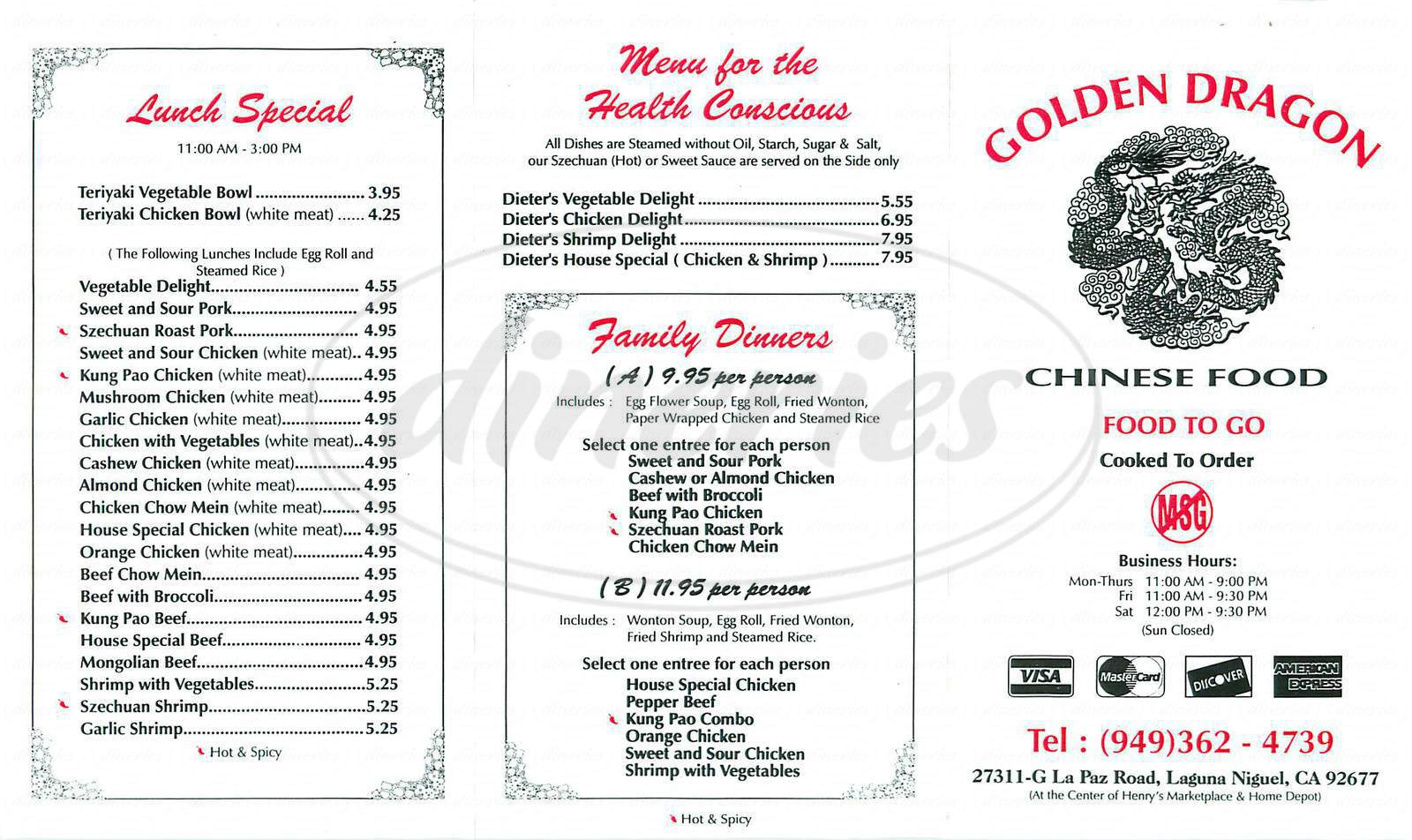 menu for Golden Dragon Chinese Food