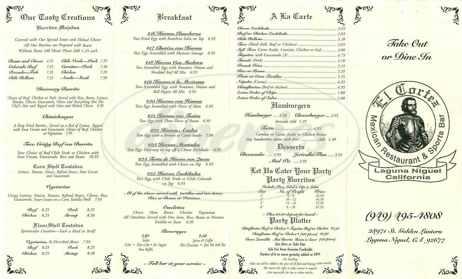 menu for El Cortez Mexican Restaurant