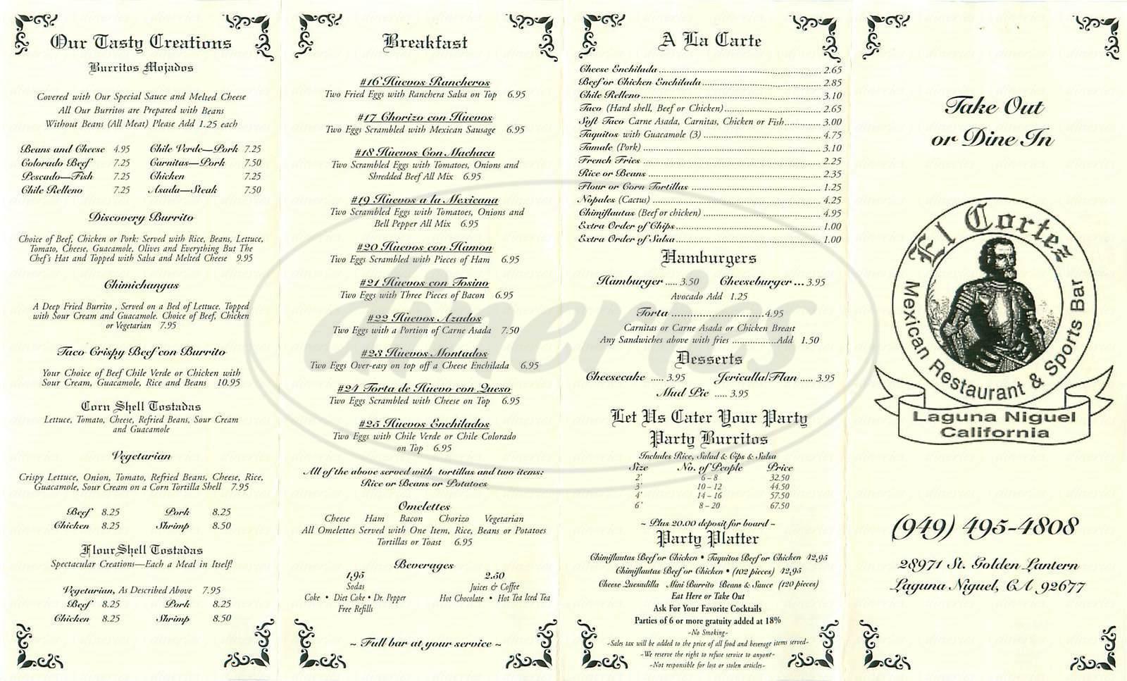 menu for El Cortez Mexican Restaurant