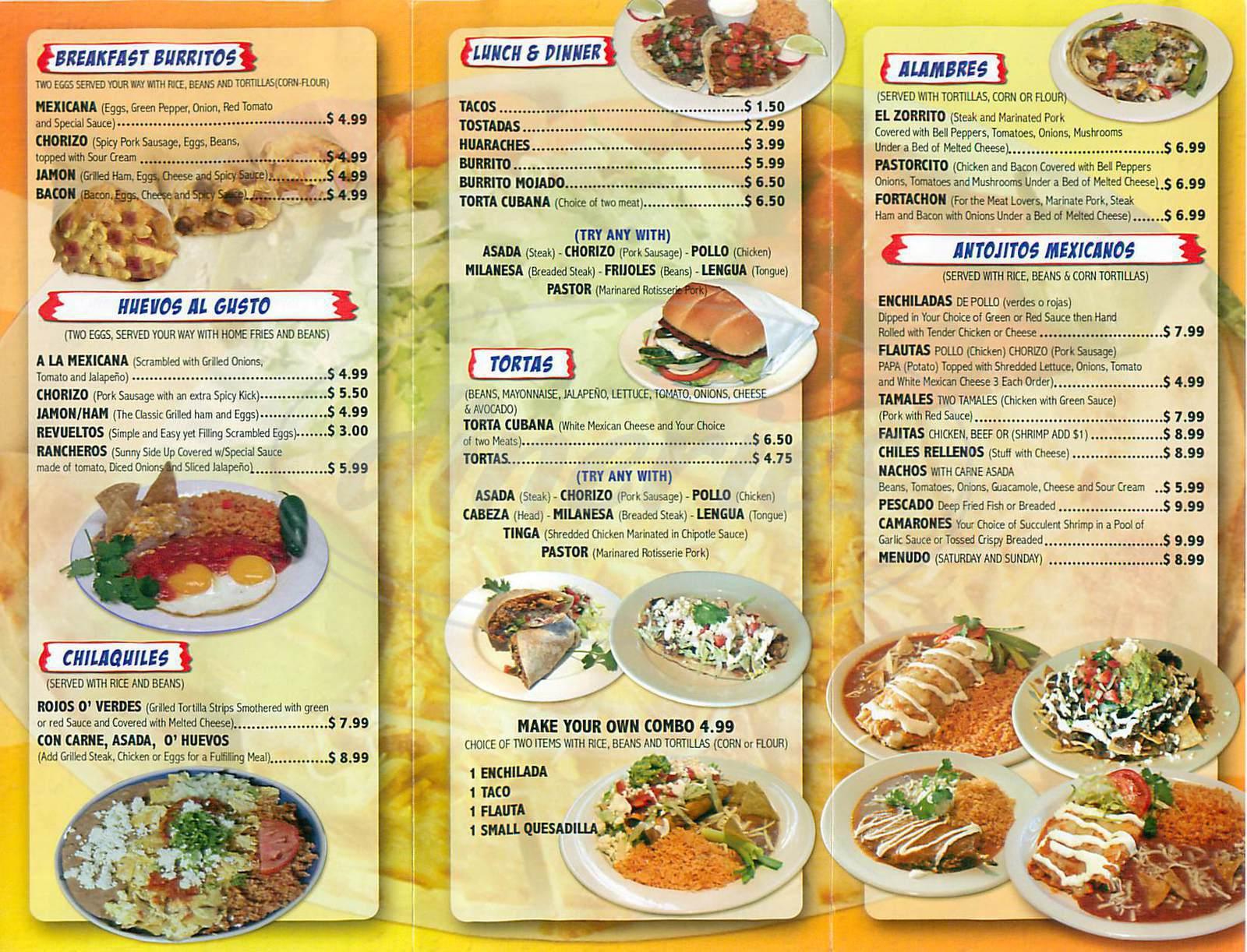 zorrito mexican grill menu - laguna hills - dineries