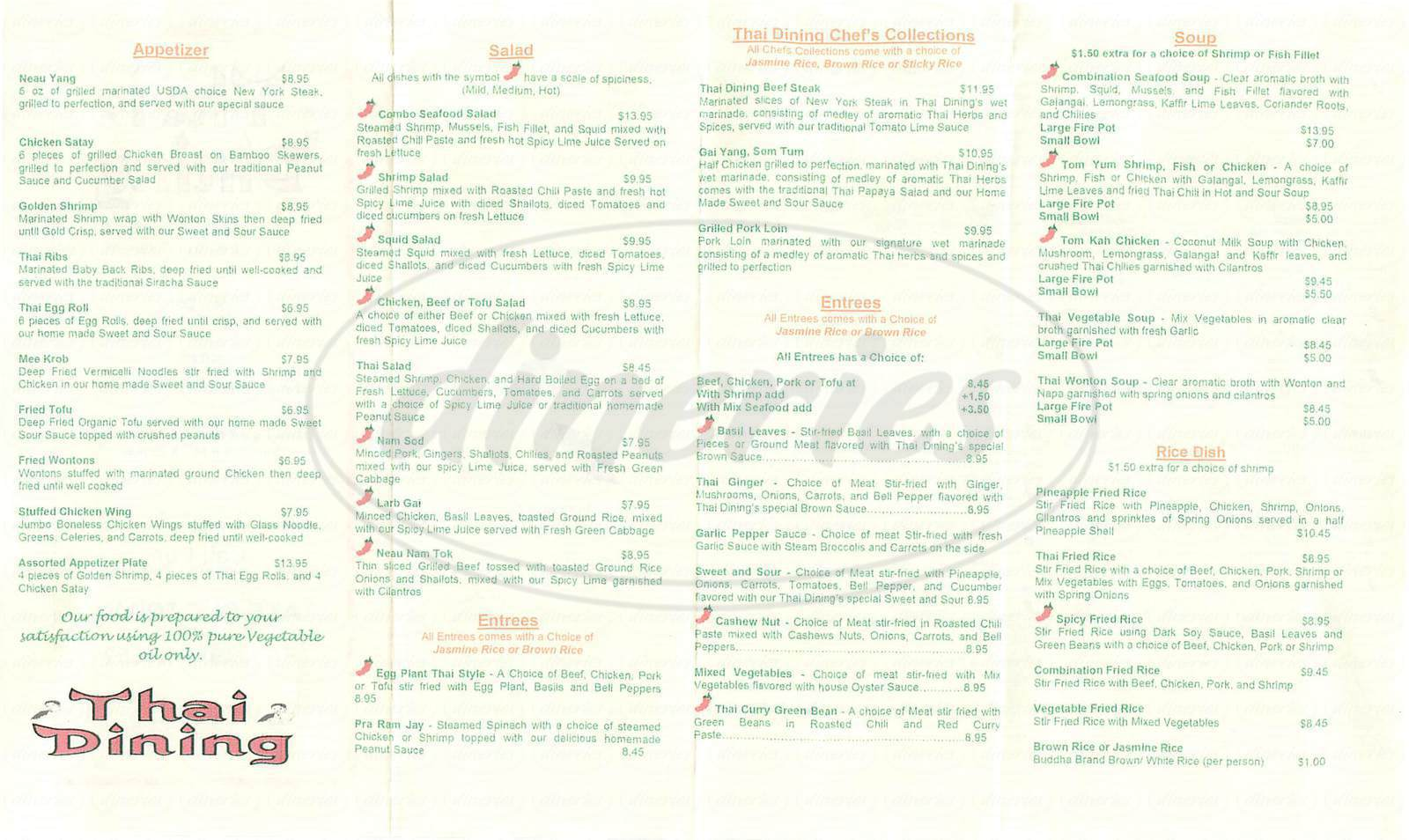 menu for Thai Dining