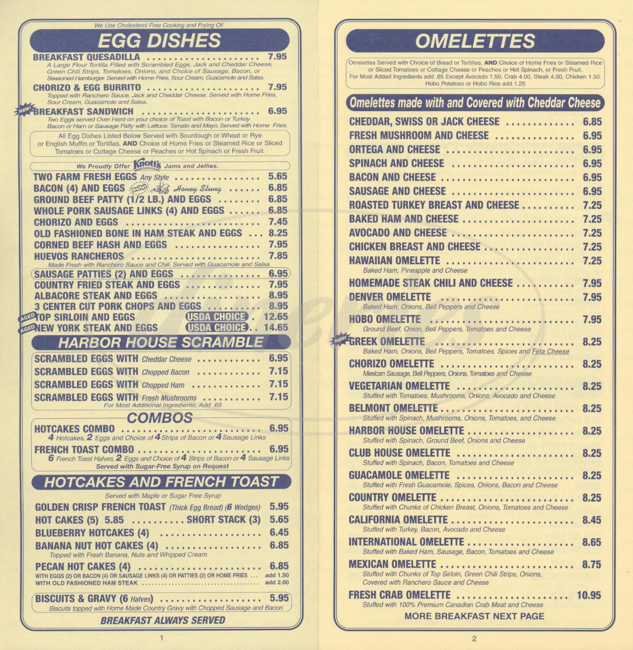 menu for Harbor House Café
