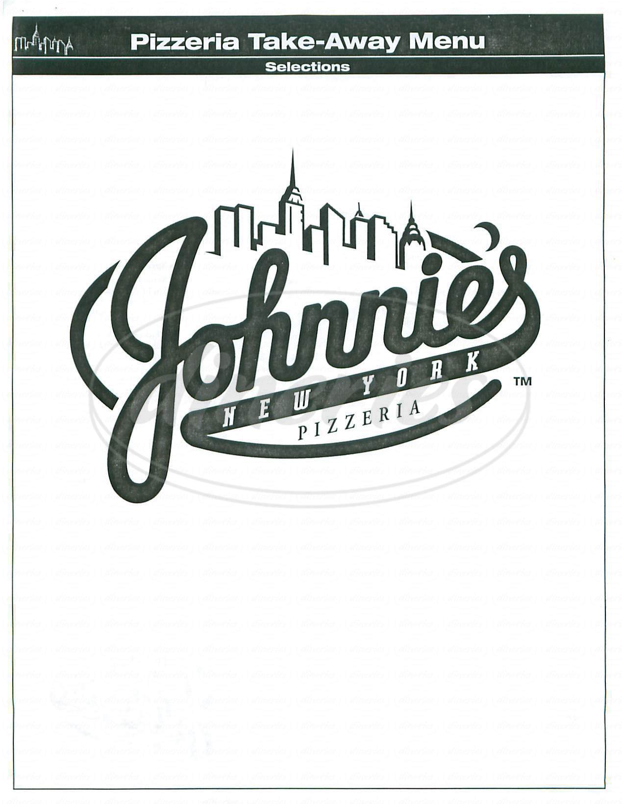 menu for Johnnies New York Pizzeria