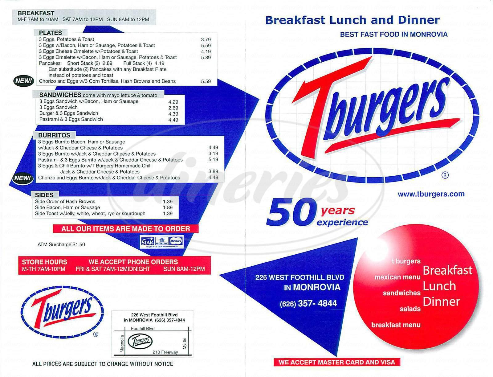 menu for T Burgers