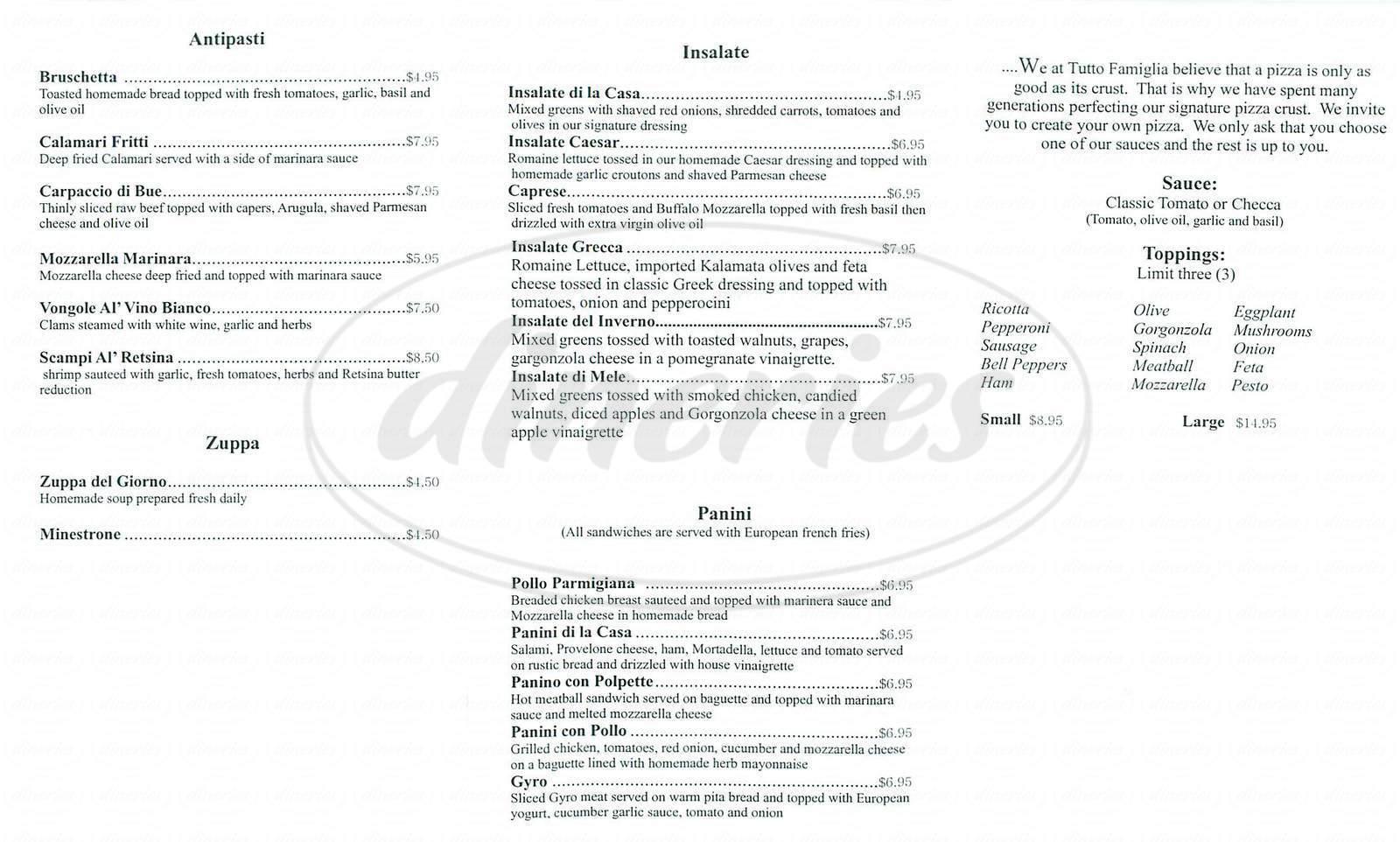 menu for Tutto Famiglia