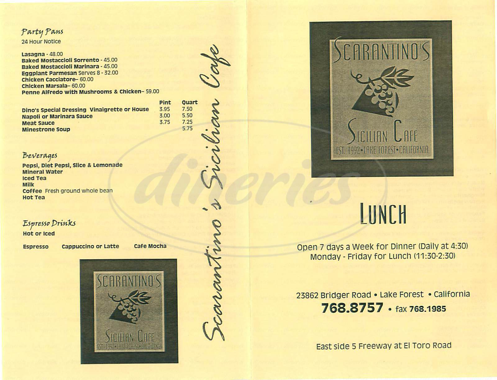 menu for Scarantinos Sicilian Café