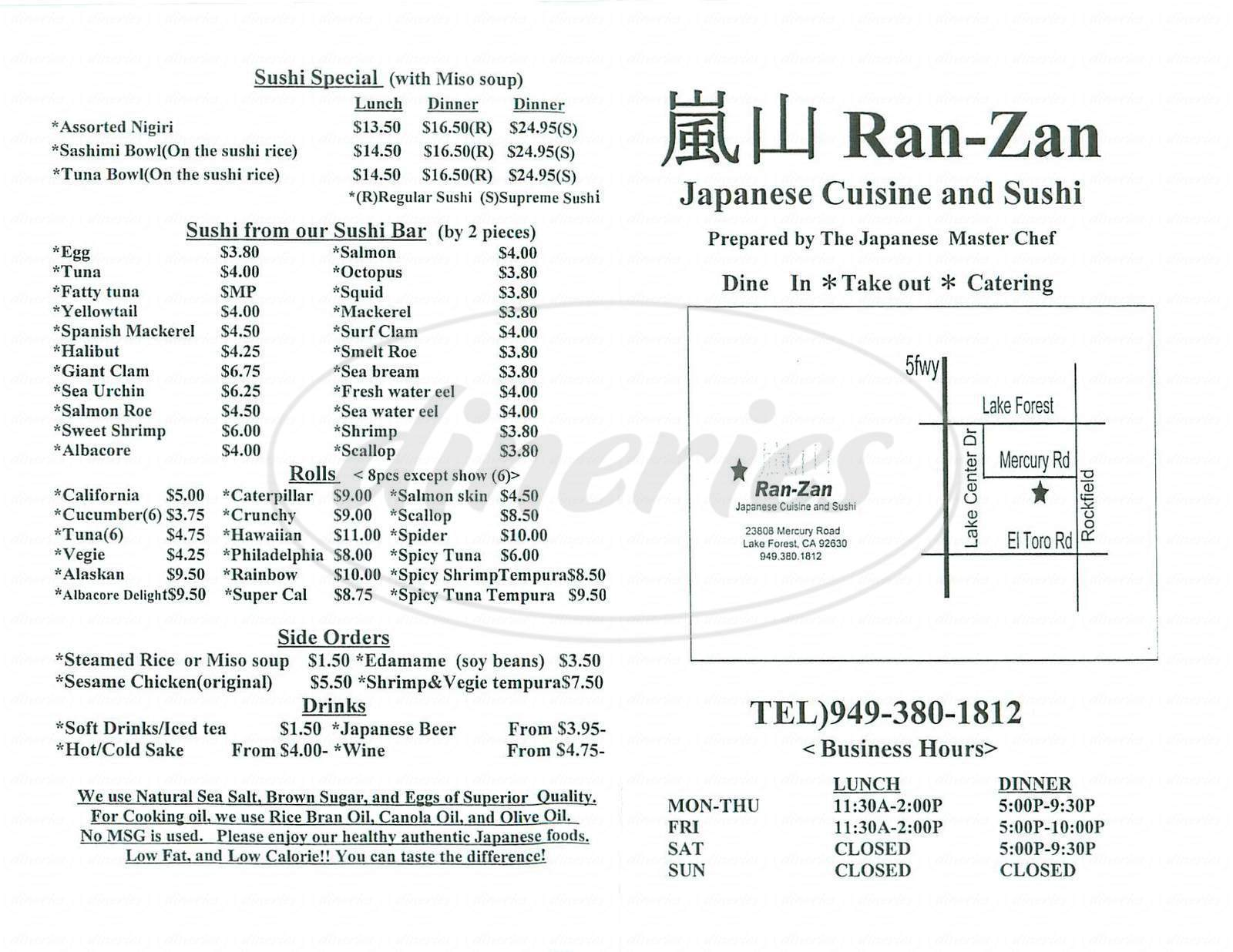 menu for Ran Zan