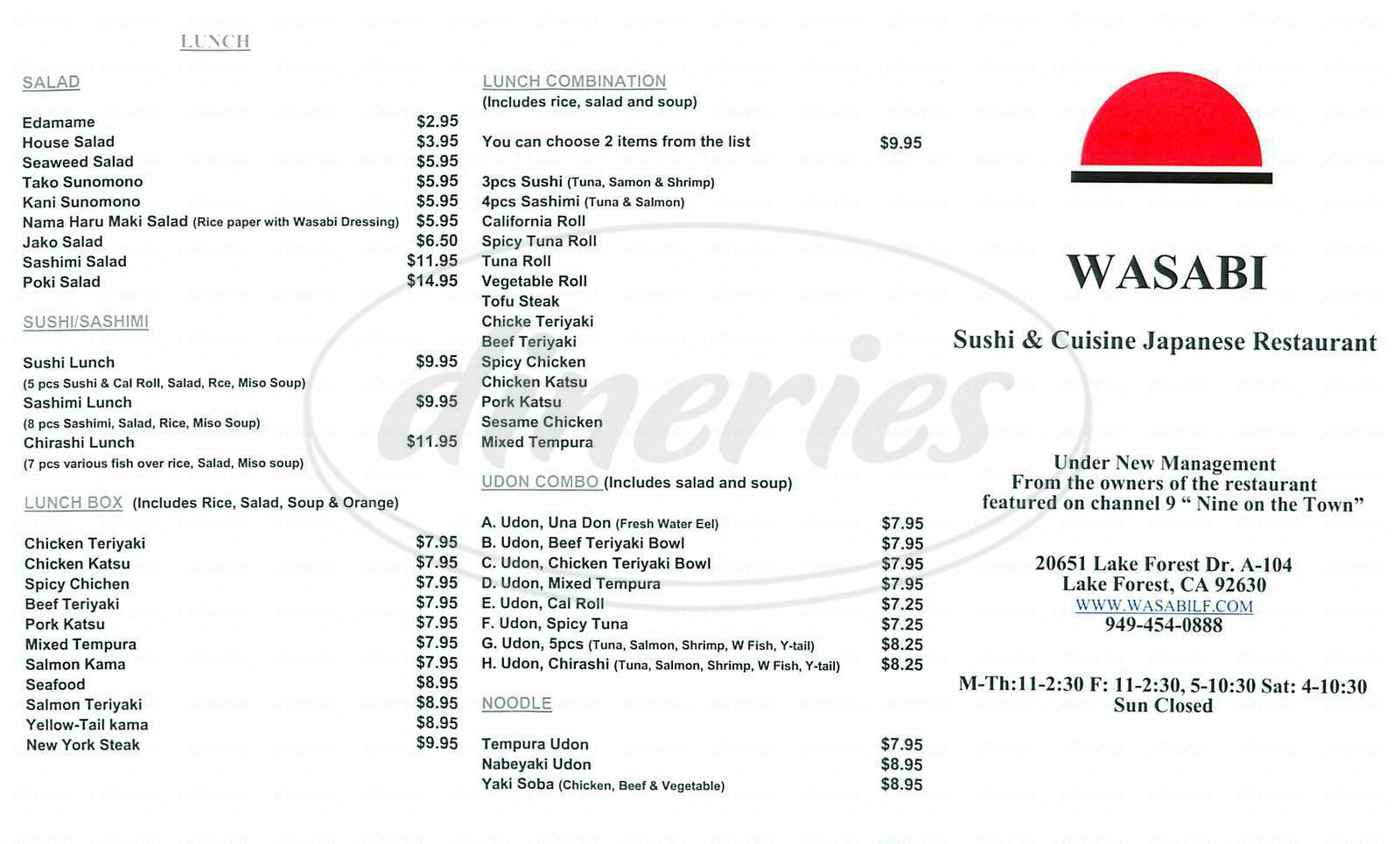 menu for Wasabi Sushi