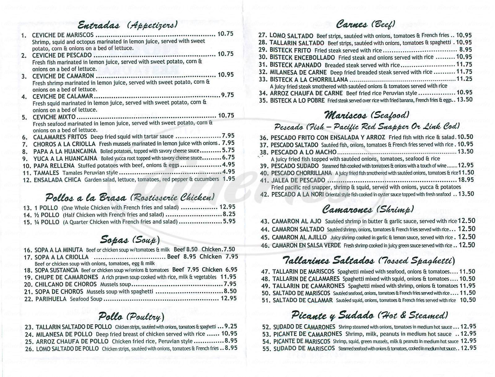 menu for Norys Restaurant
