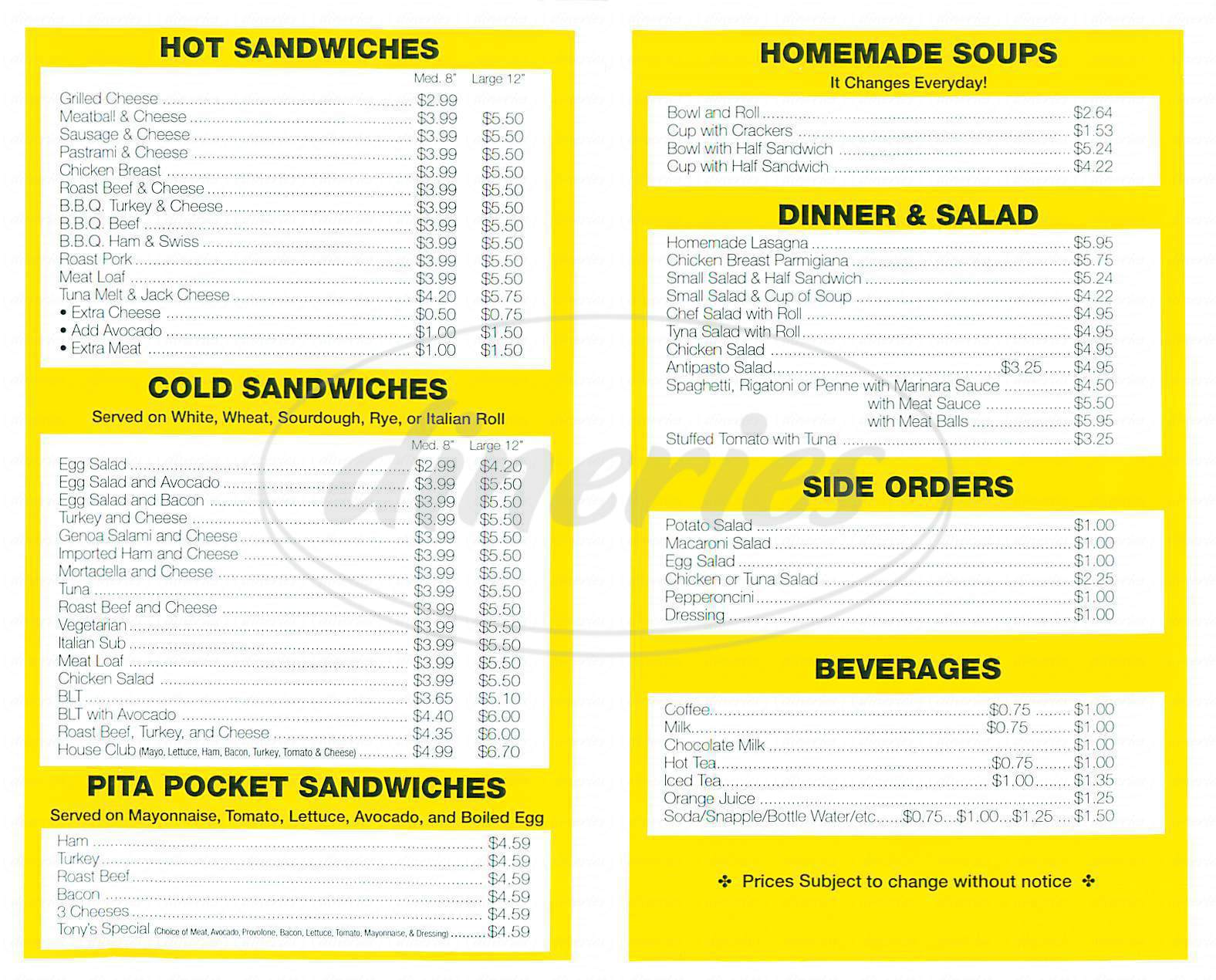 menu for Tonys Kitchen & Catering