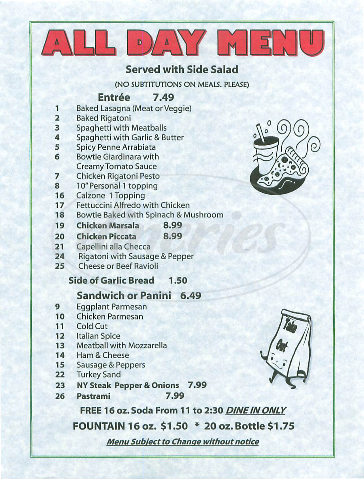 menu for Piccolo Cucina & Pizzeria