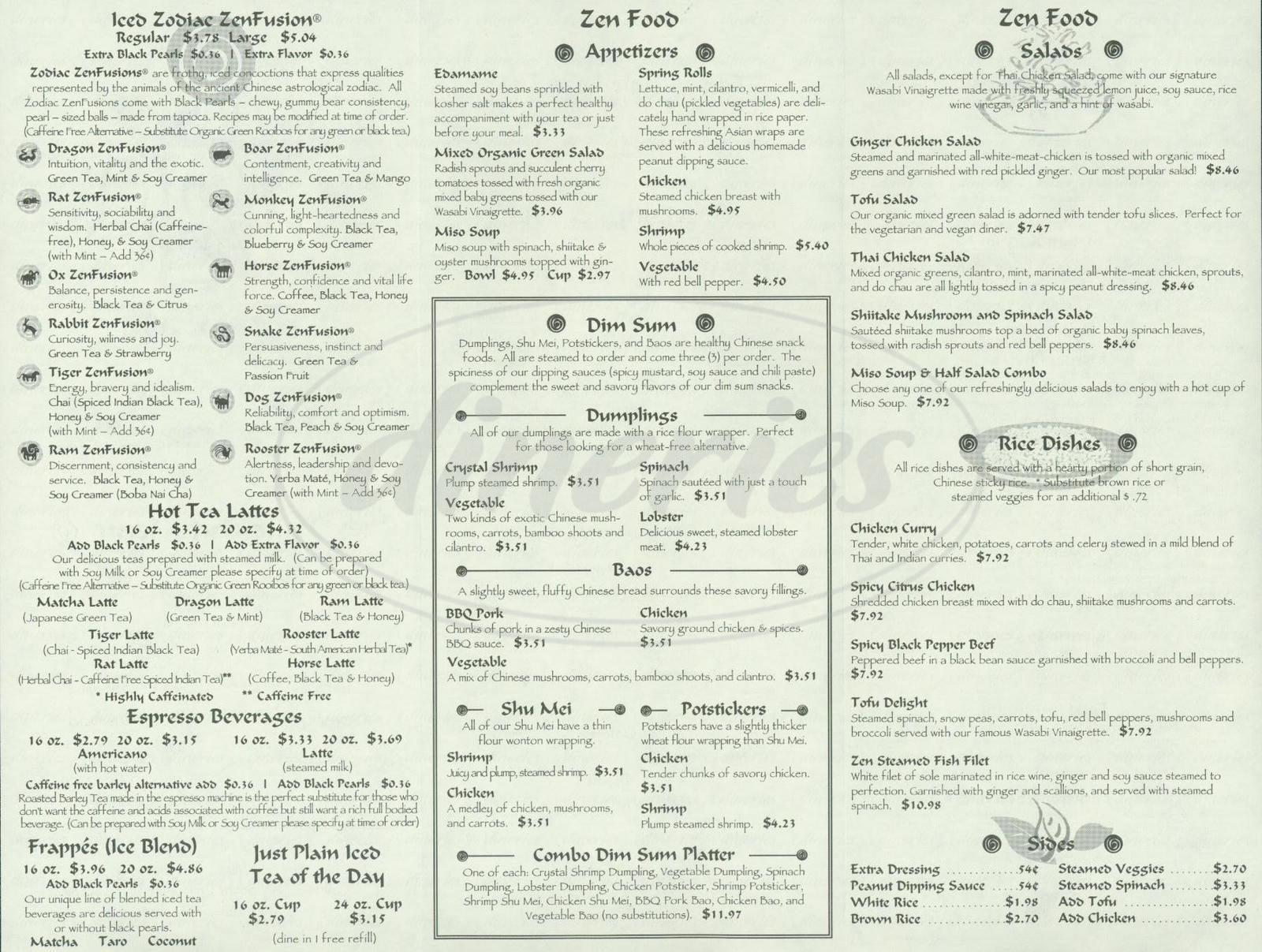 menu for Zen Zoo Tea