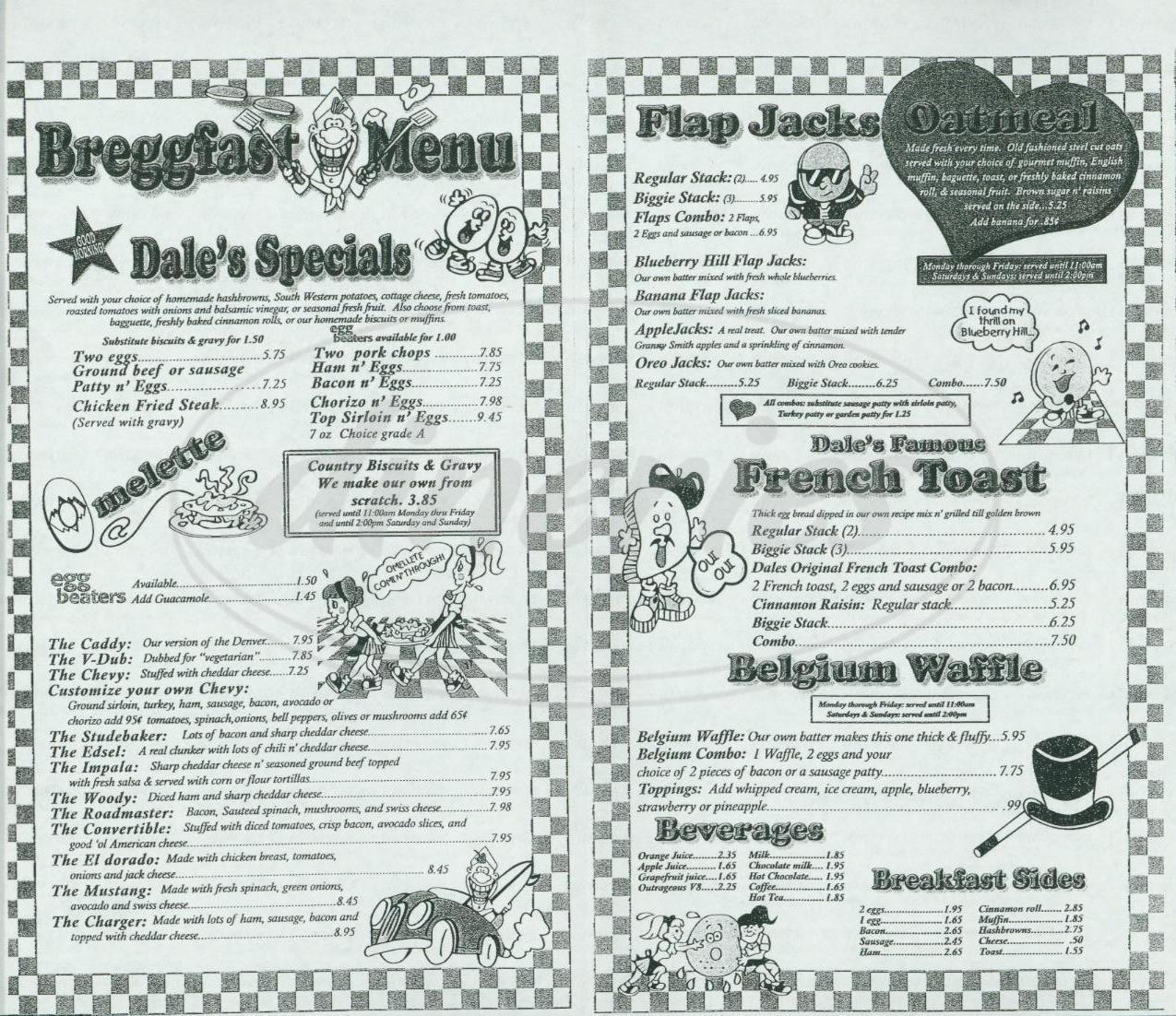 menu for Dales Diner