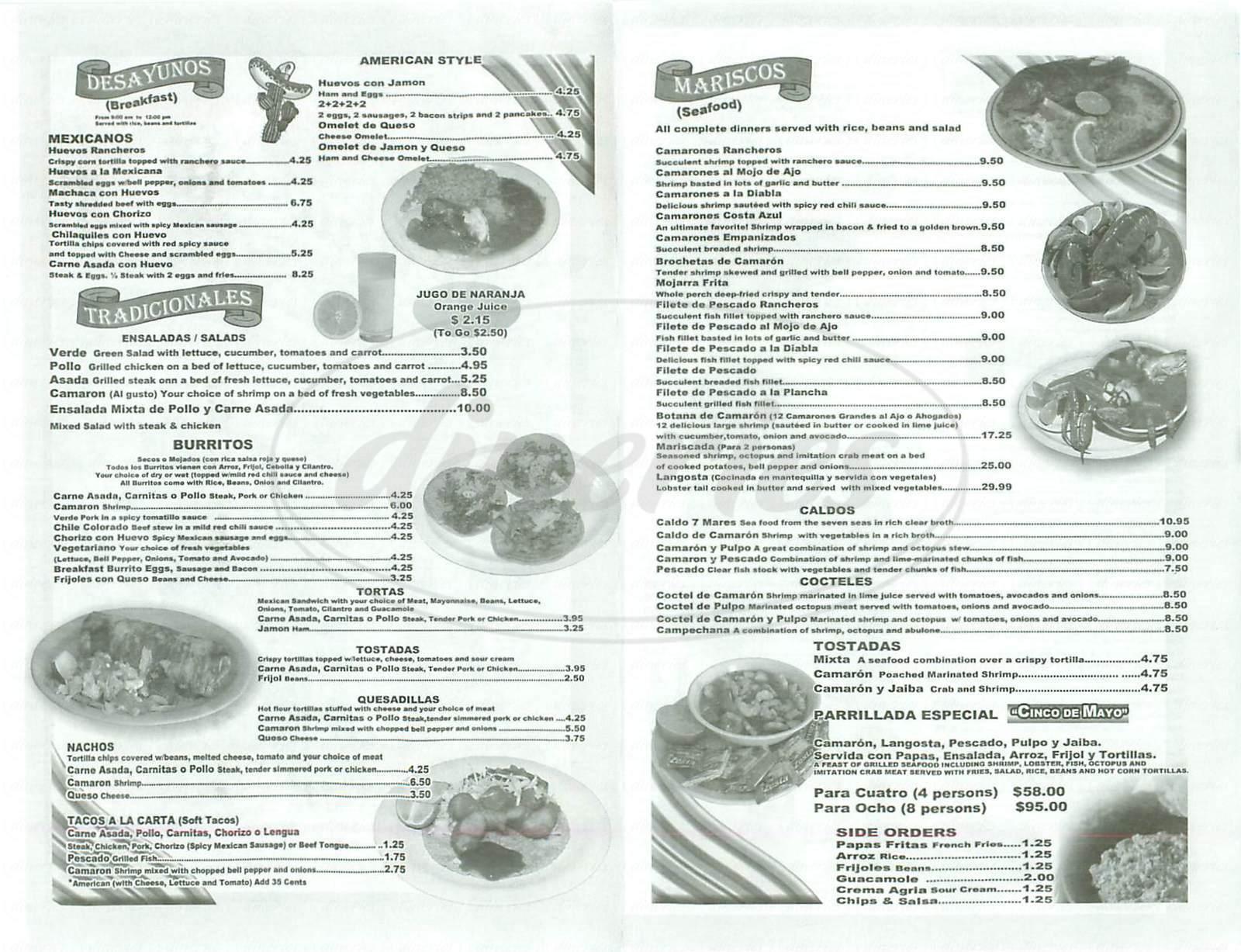 menu for Cinco de Mayo