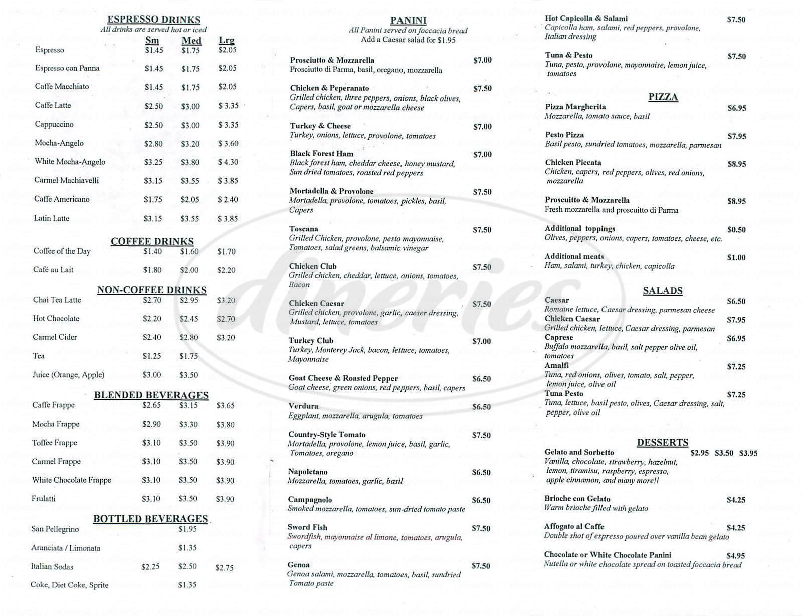 menu for Aroma Di Roma
