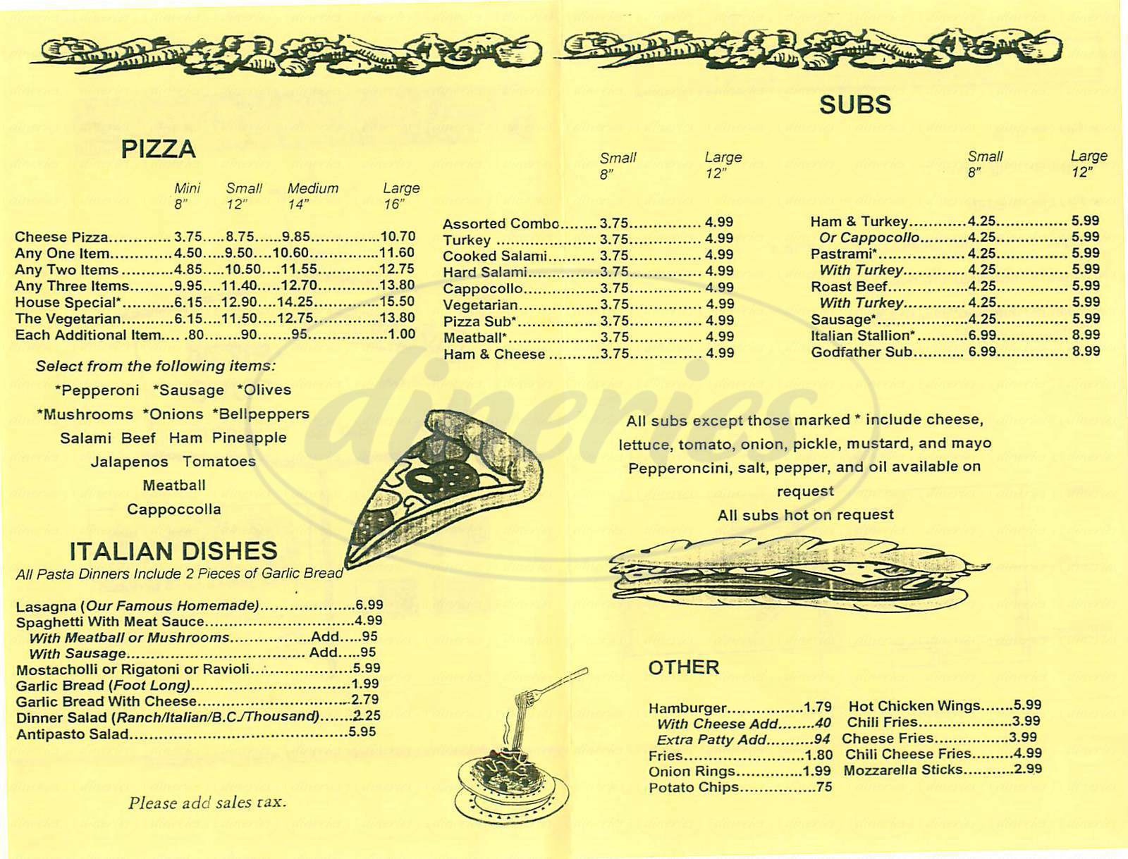 menu for Avenue 3 Pizza & Subs