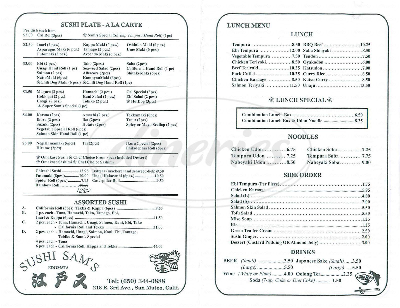 menu for Sushi Sams Edomata