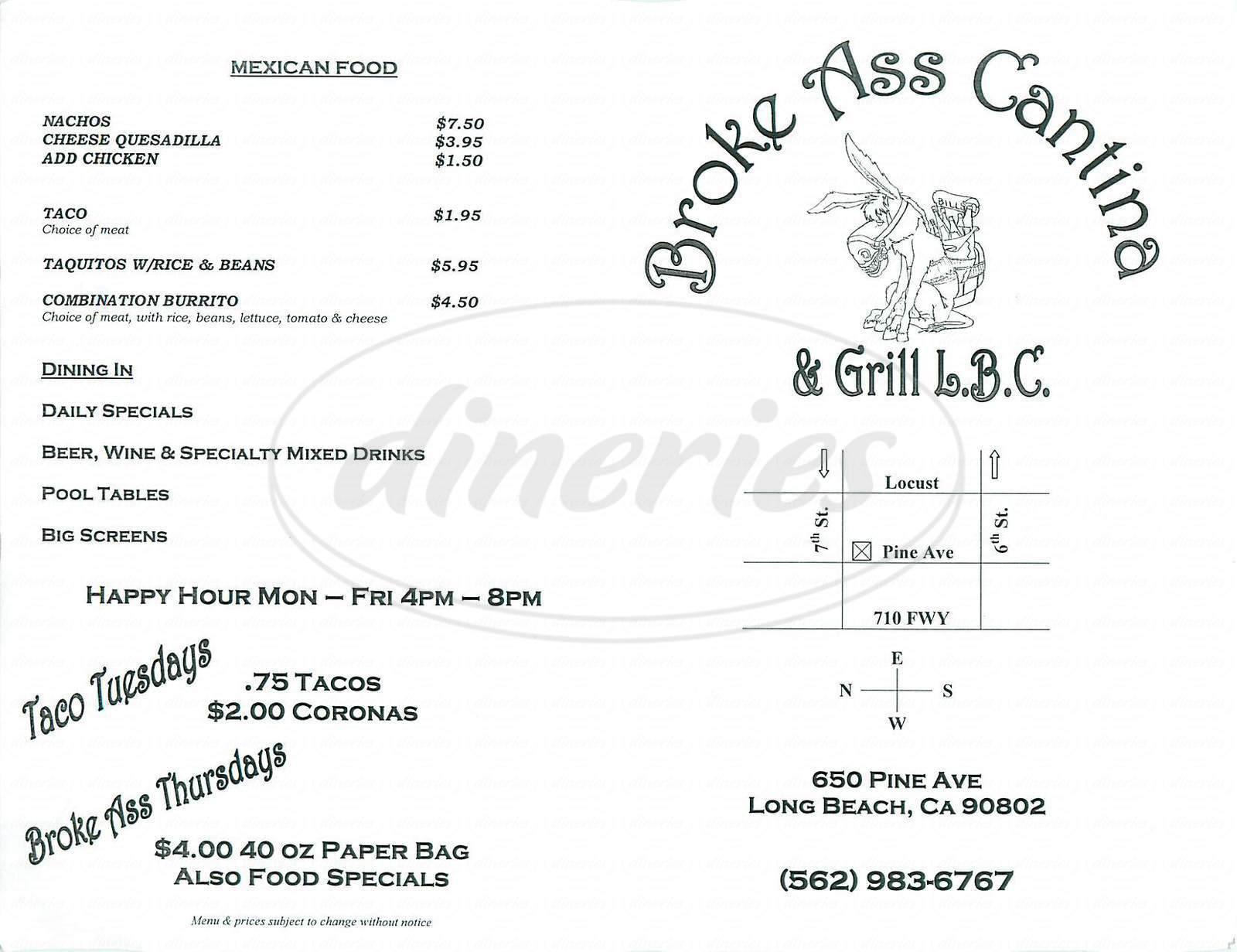menu for Broke Ass Cantina & Grill
