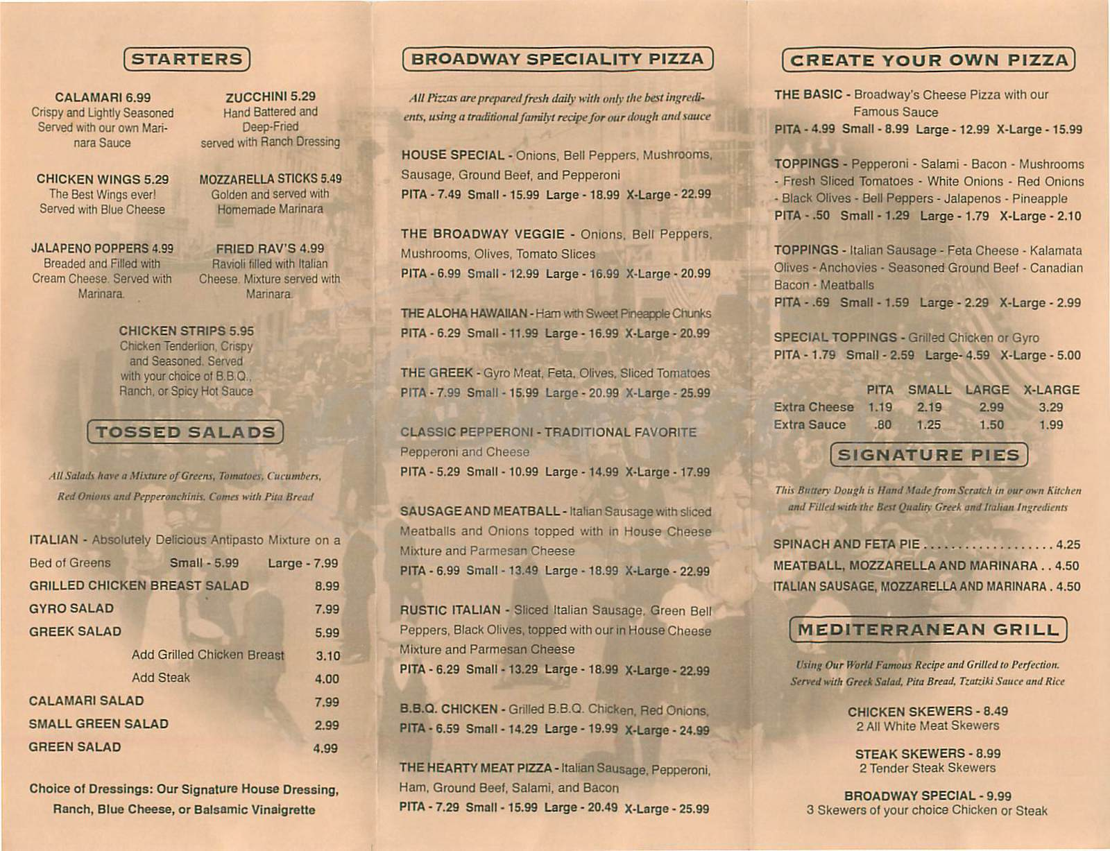 menu for Broadway Pizza & Grill