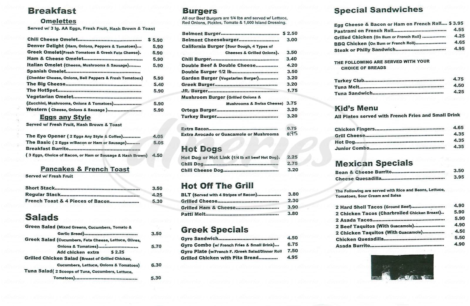 Big menu for Belmont Burgers, Long Beach