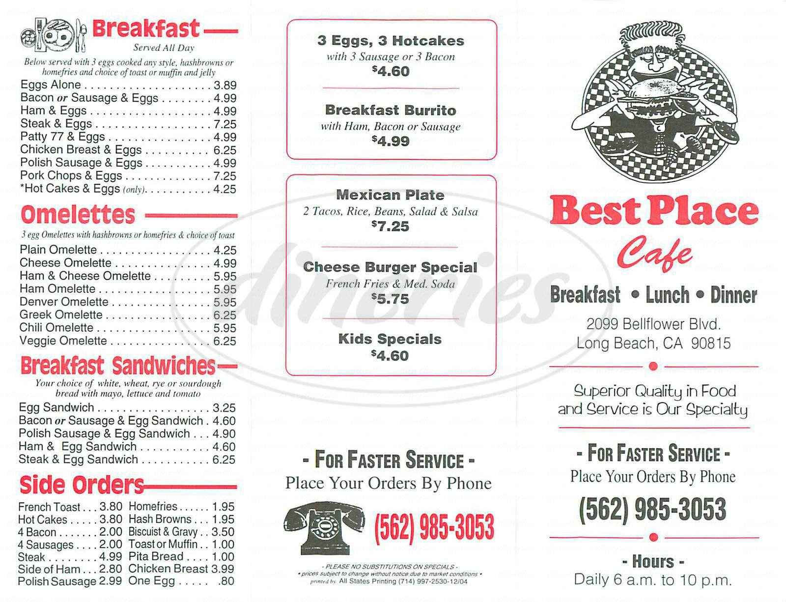 menu for Best Place Café