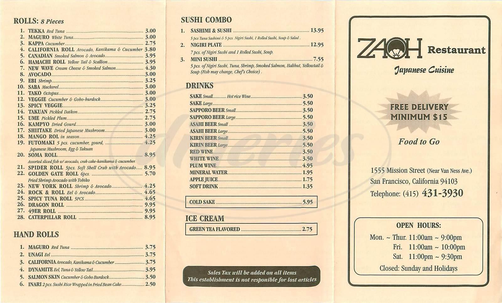 menu for Zaoh Restaurant