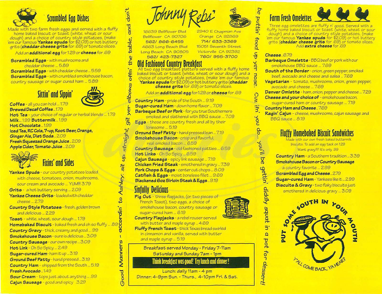 menu for Johnny Rebs Southern Roadhouse