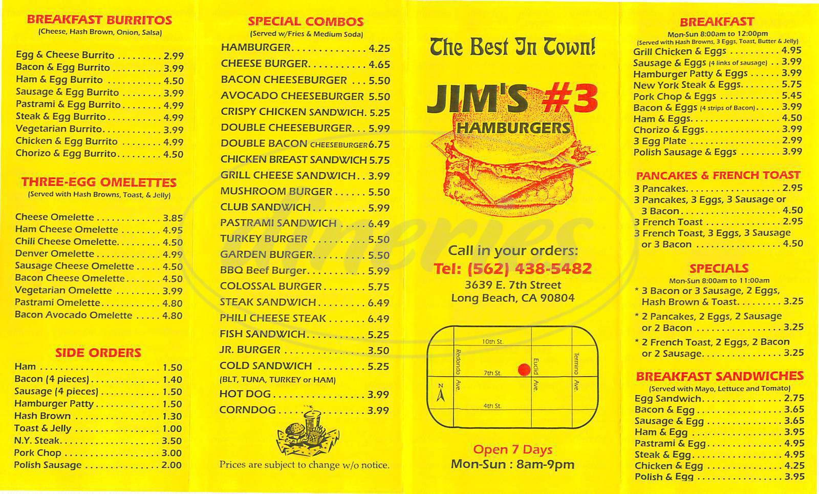 menu for Jims Hamburgers