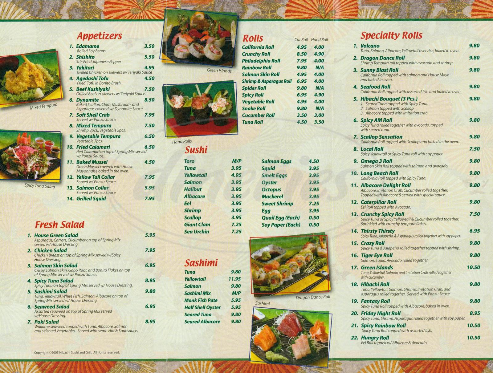 menu for Hibachi Sushi & Grill
