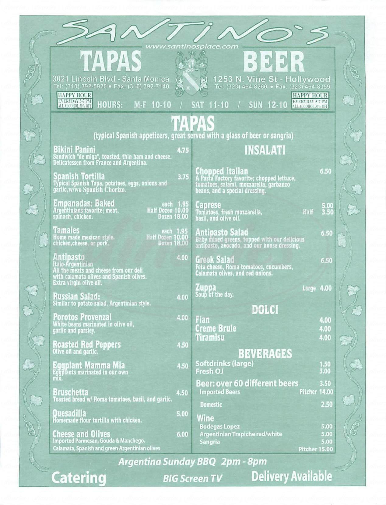 menu for Santinos
