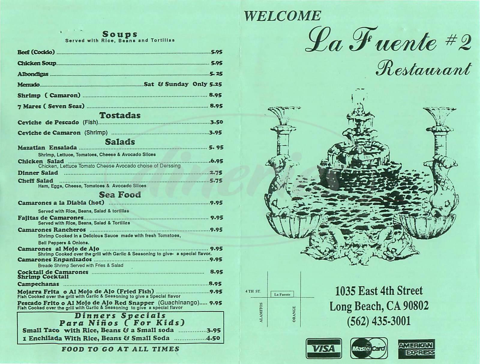 menu for La Fuente