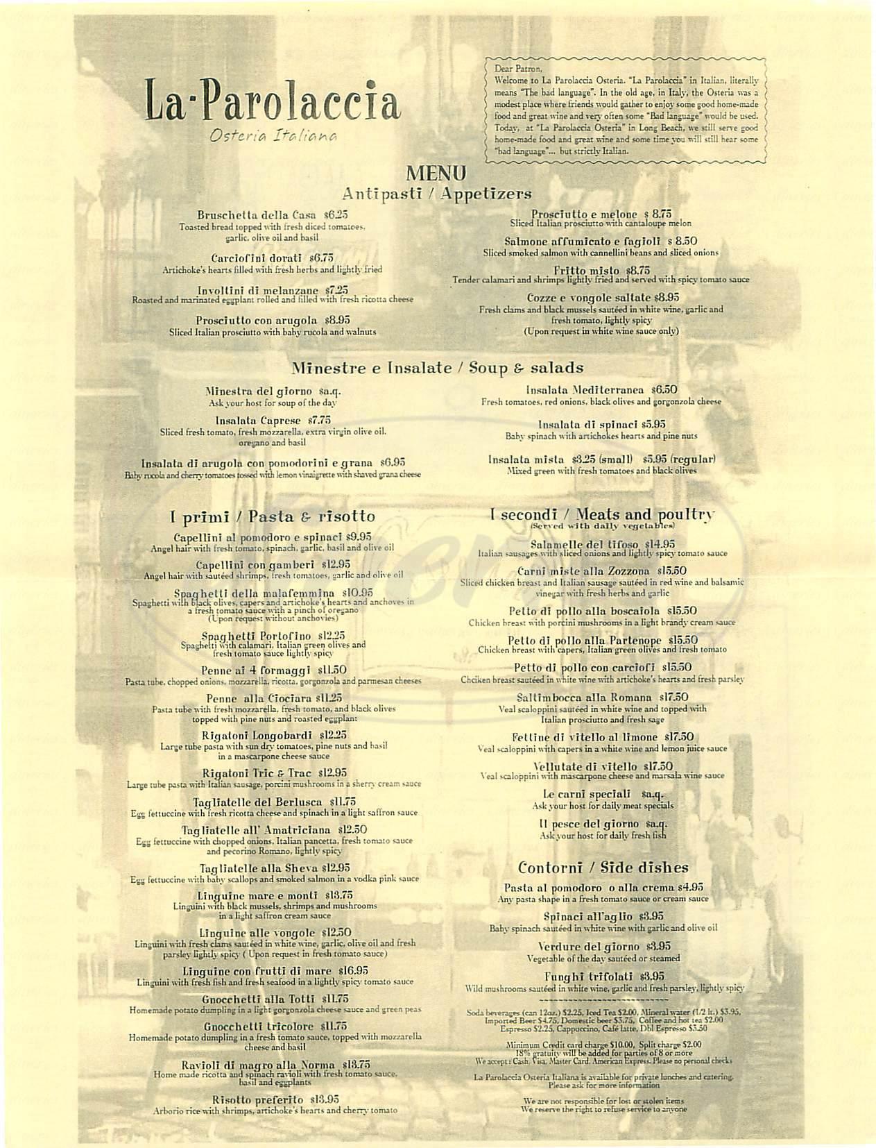 menu for La Parolaccia Osteria