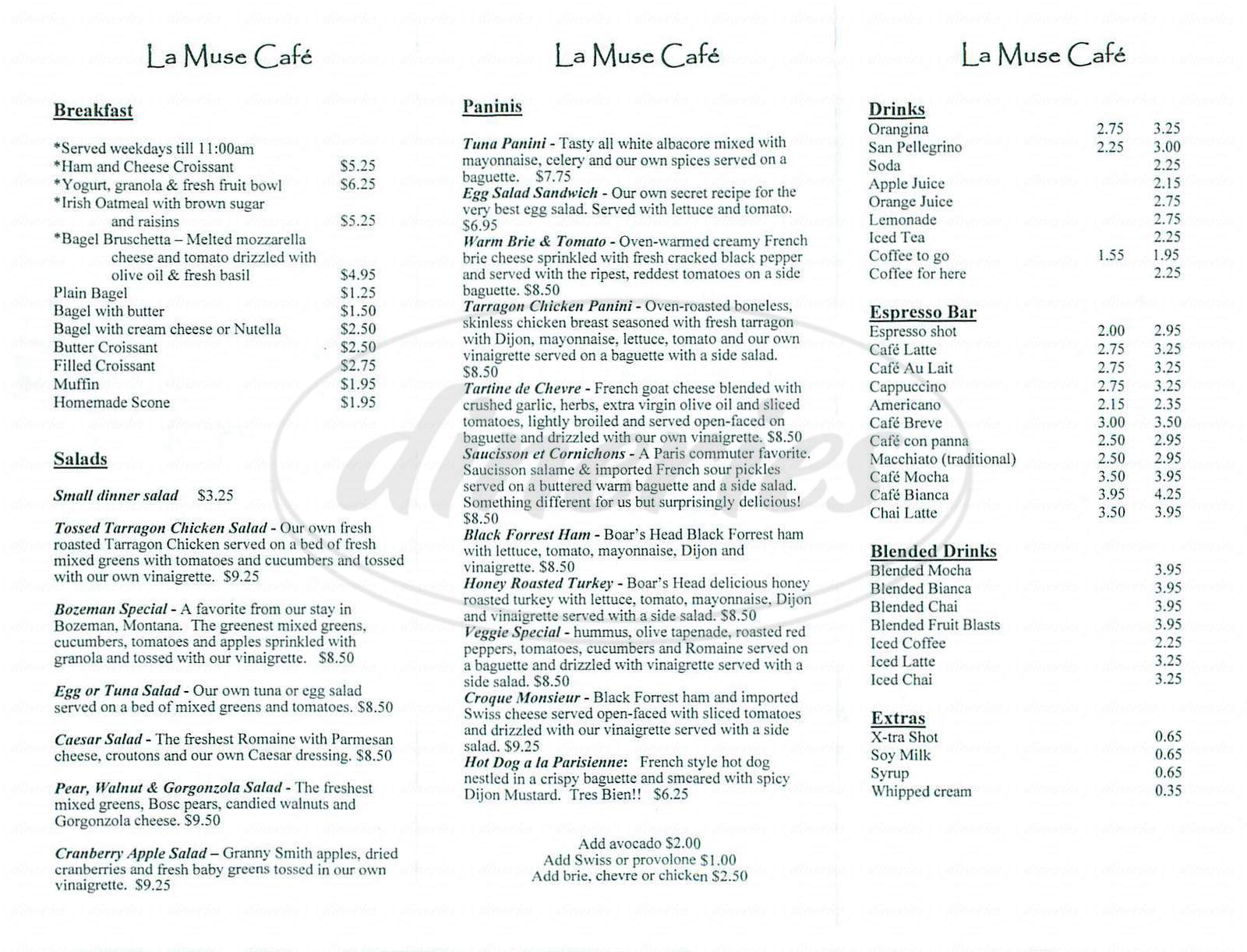 menu for La Muse Café