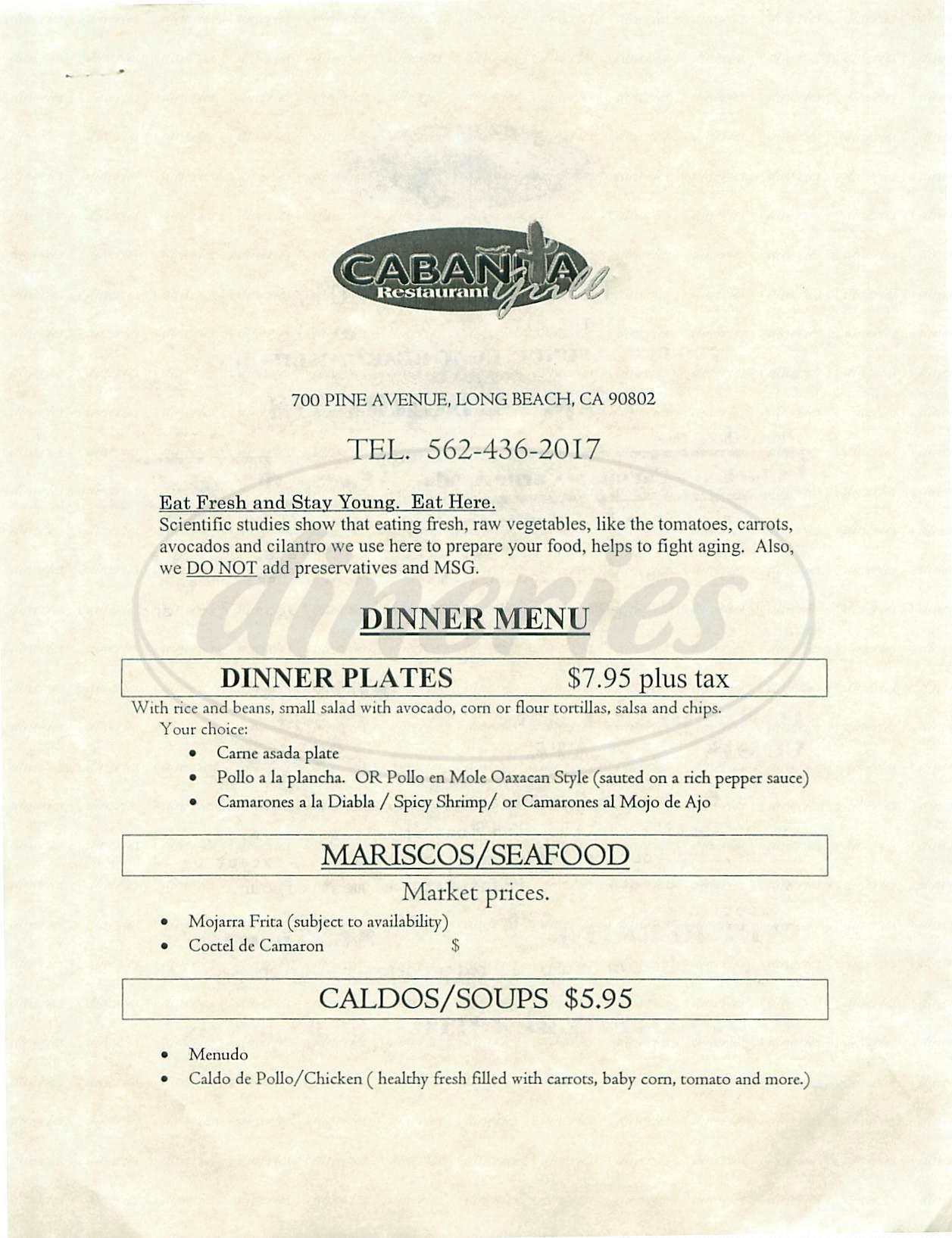 menu for Cabanita Restaurant Grill