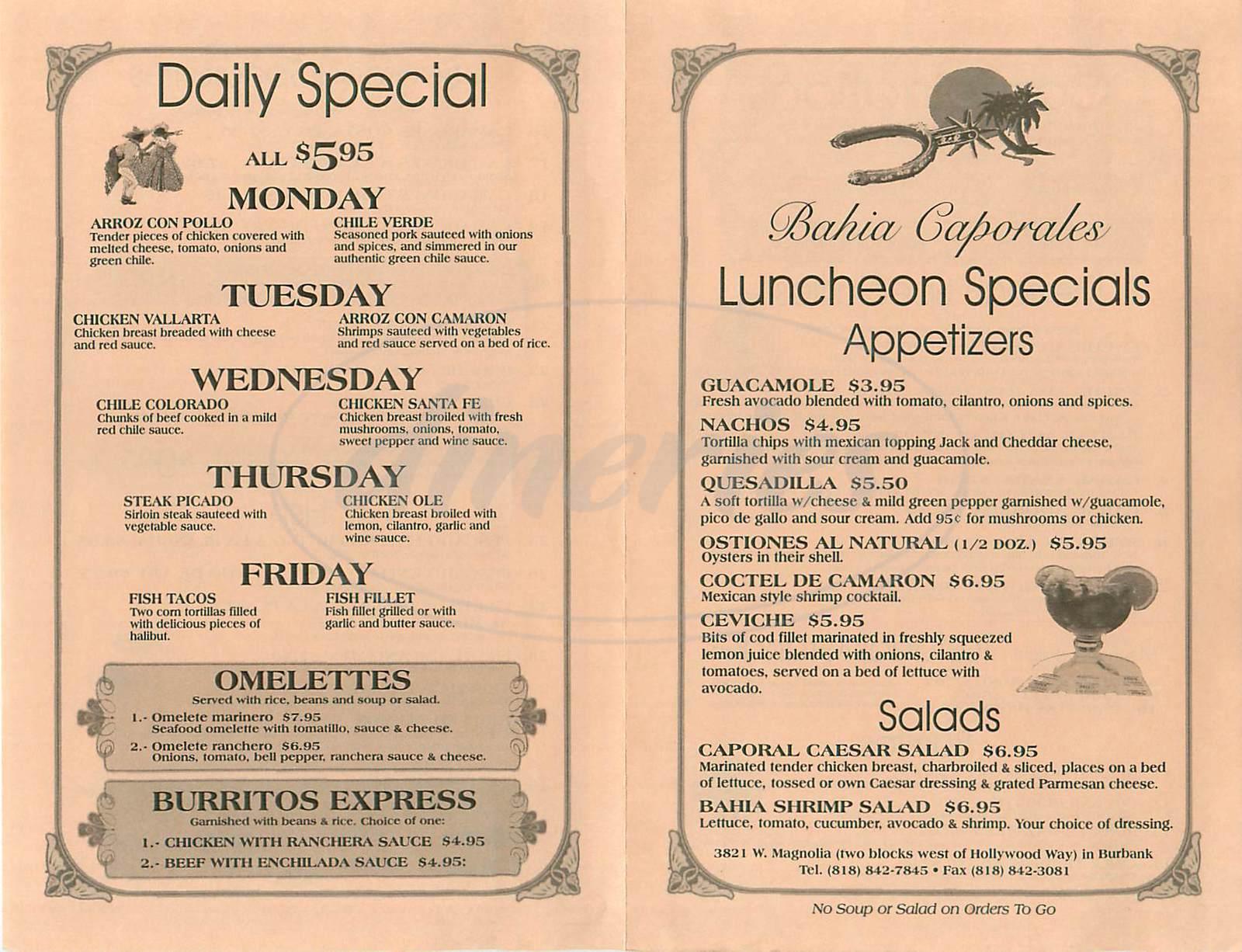 menu for Bahia Caporales